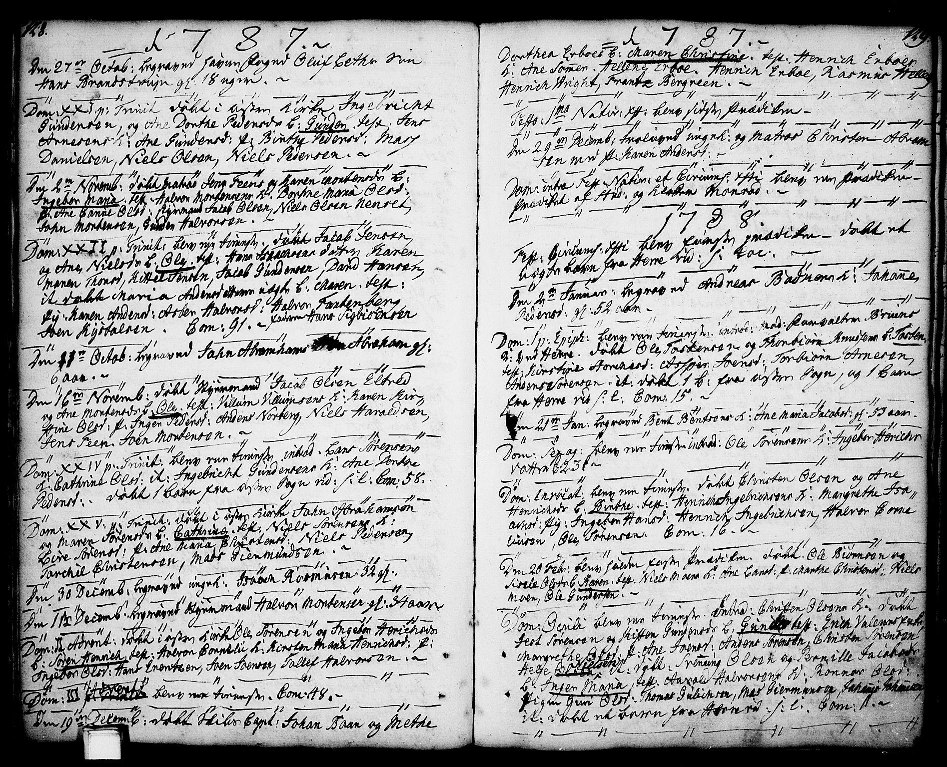 SAKO, Porsgrunn kirkebøker , F/Fa/L0001: Ministerialbok nr. 1, 1764-1814, s. 128-129