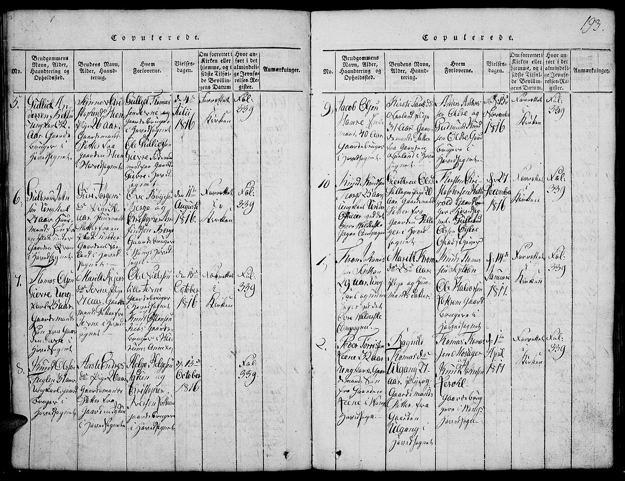 SAH, Vang prestekontor, Valdres, Klokkerbok nr. 2, 1814-1889, s. 193