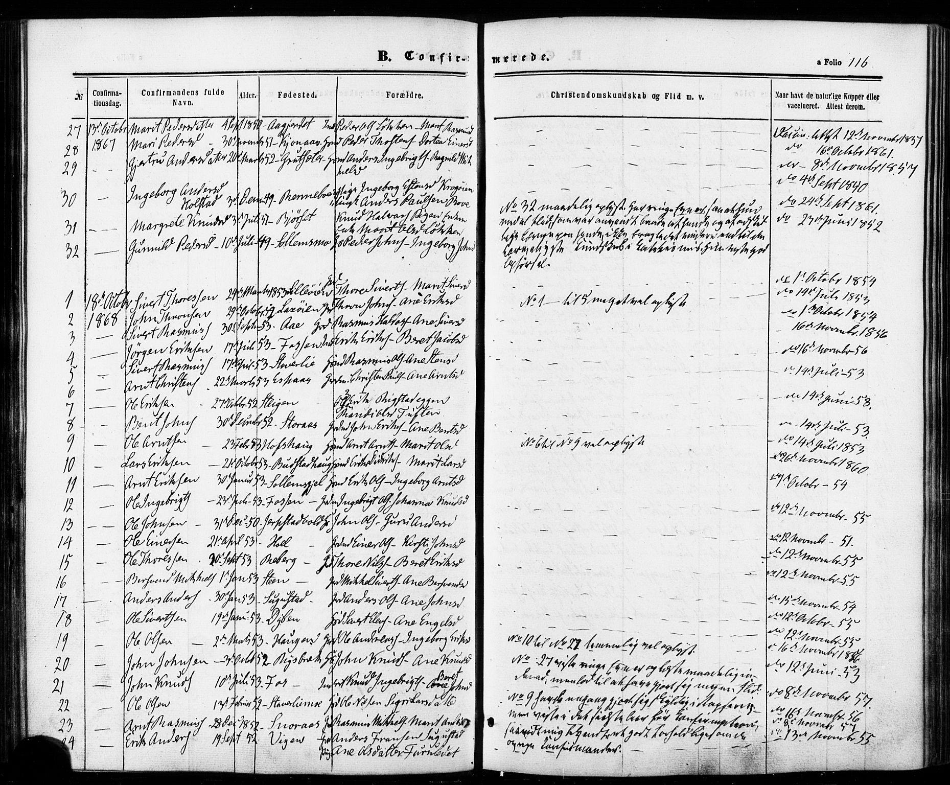 SAT, Ministerialprotokoller, klokkerbøker og fødselsregistre - Sør-Trøndelag, 672/L0856: Ministerialbok nr. 672A08, 1861-1881, s. 116