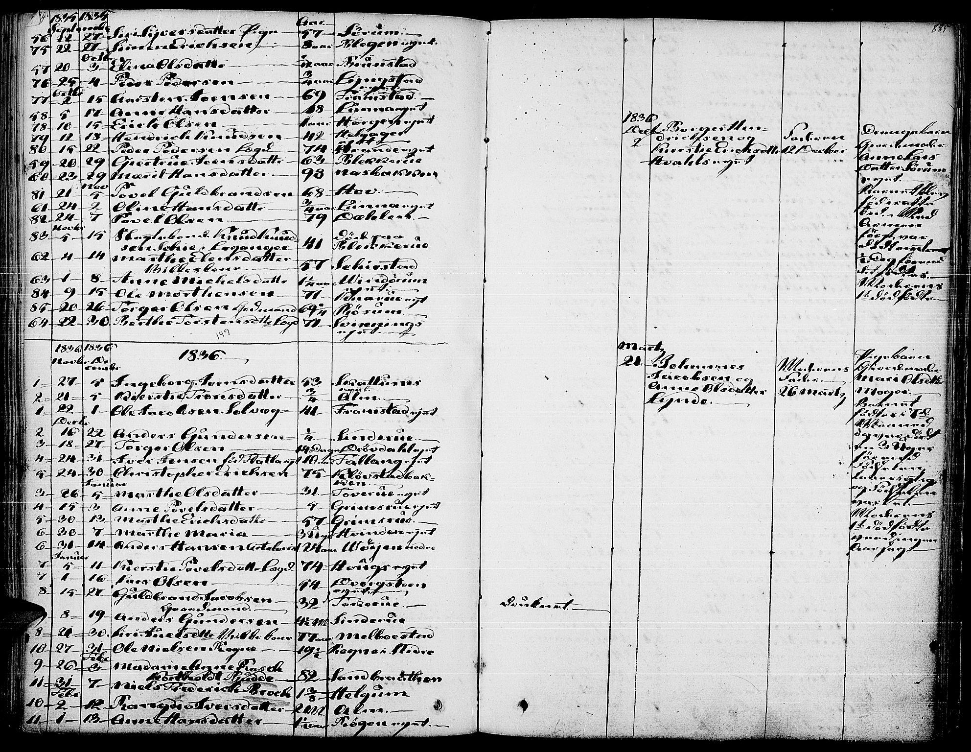 SAH, Gran prestekontor, Ministerialbok nr. 10, 1824-1842, s. 884-885