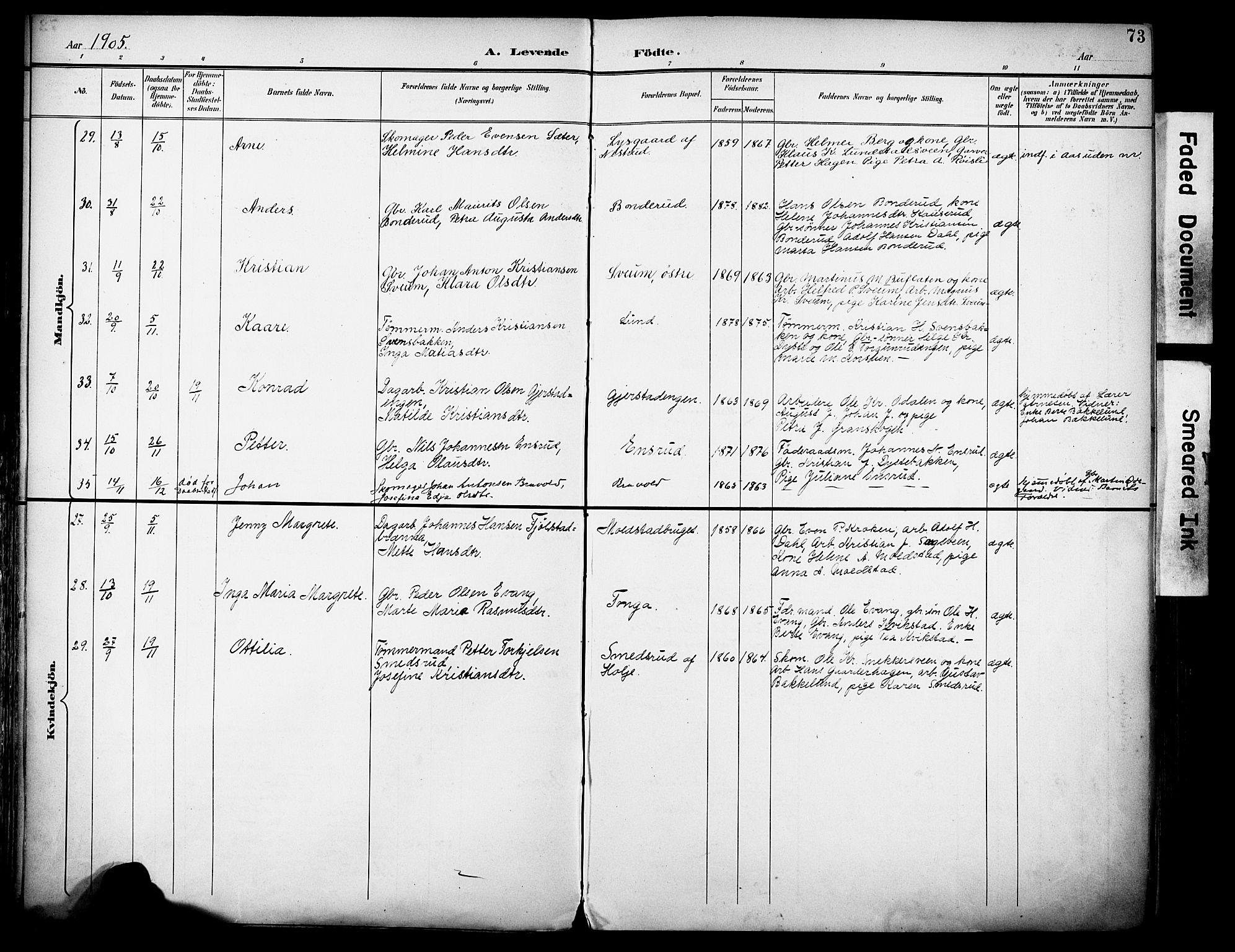 SAH, Vestre Toten prestekontor, H/Ha/Haa/L0013: Ministerialbok nr. 13, 1895-1911, s. 73