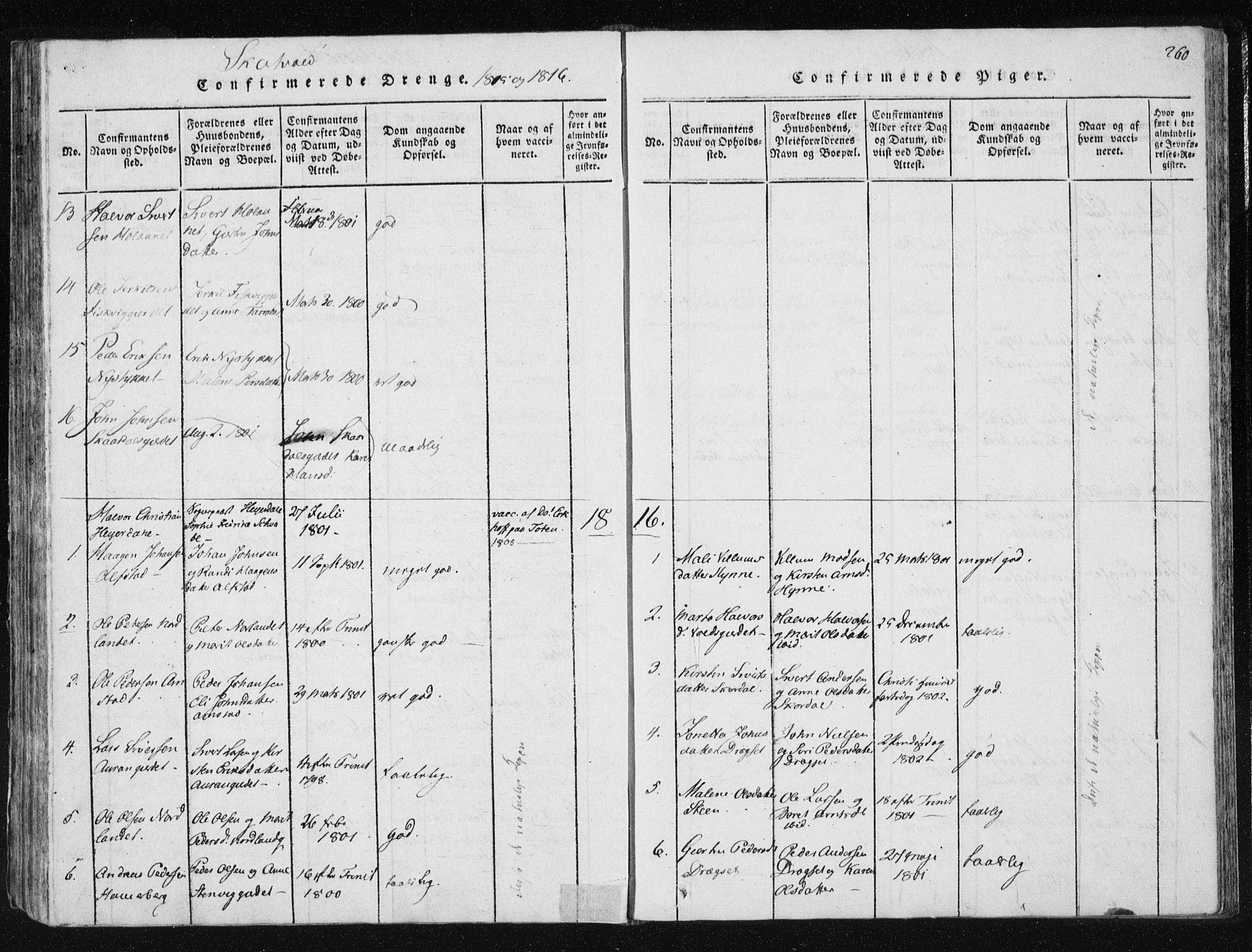 SAT, Ministerialprotokoller, klokkerbøker og fødselsregistre - Nord-Trøndelag, 709/L0061: Ministerialbok nr. 709A08 /2, 1815-1819, s. 260