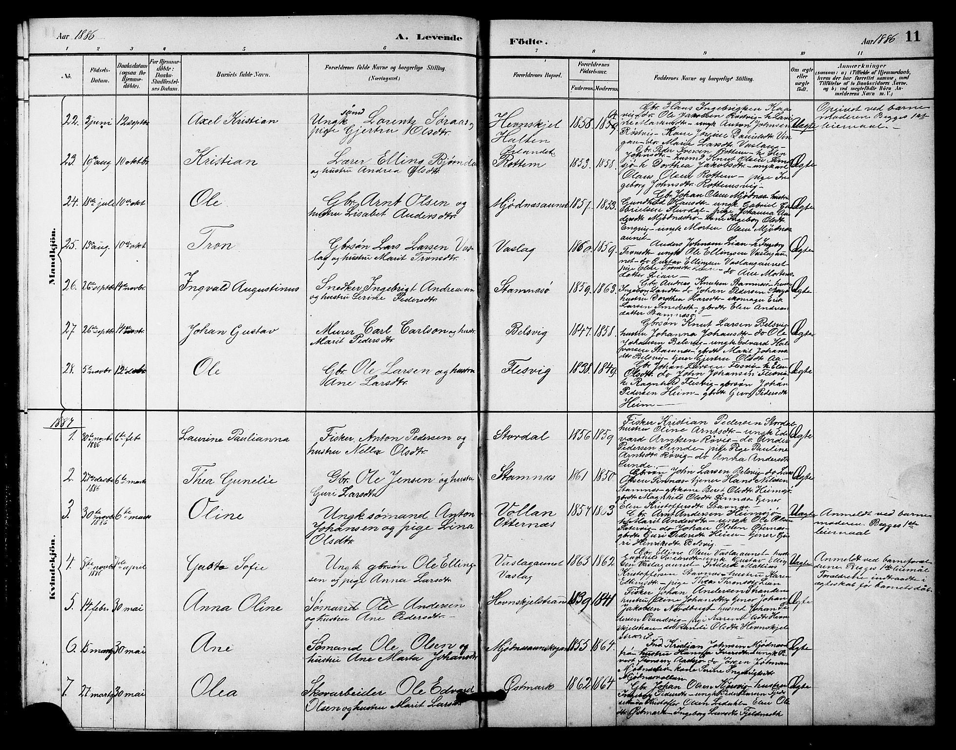 SAT, Ministerialprotokoller, klokkerbøker og fødselsregistre - Sør-Trøndelag, 633/L0519: Klokkerbok nr. 633C01, 1884-1905, s. 11