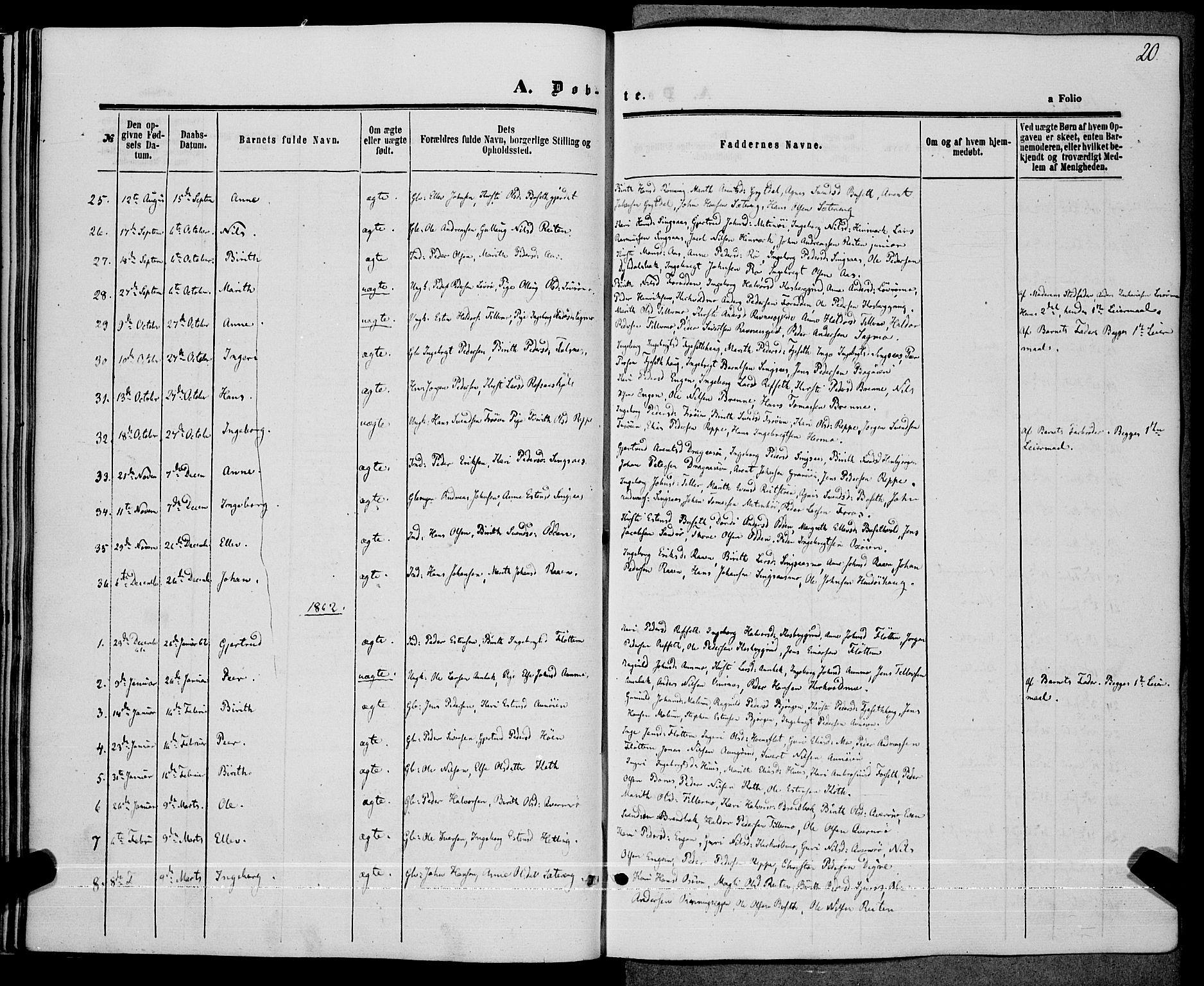 SAT, Ministerialprotokoller, klokkerbøker og fødselsregistre - Sør-Trøndelag, 685/L0967: Ministerialbok nr. 685A07 /2, 1860-1869, s. 20