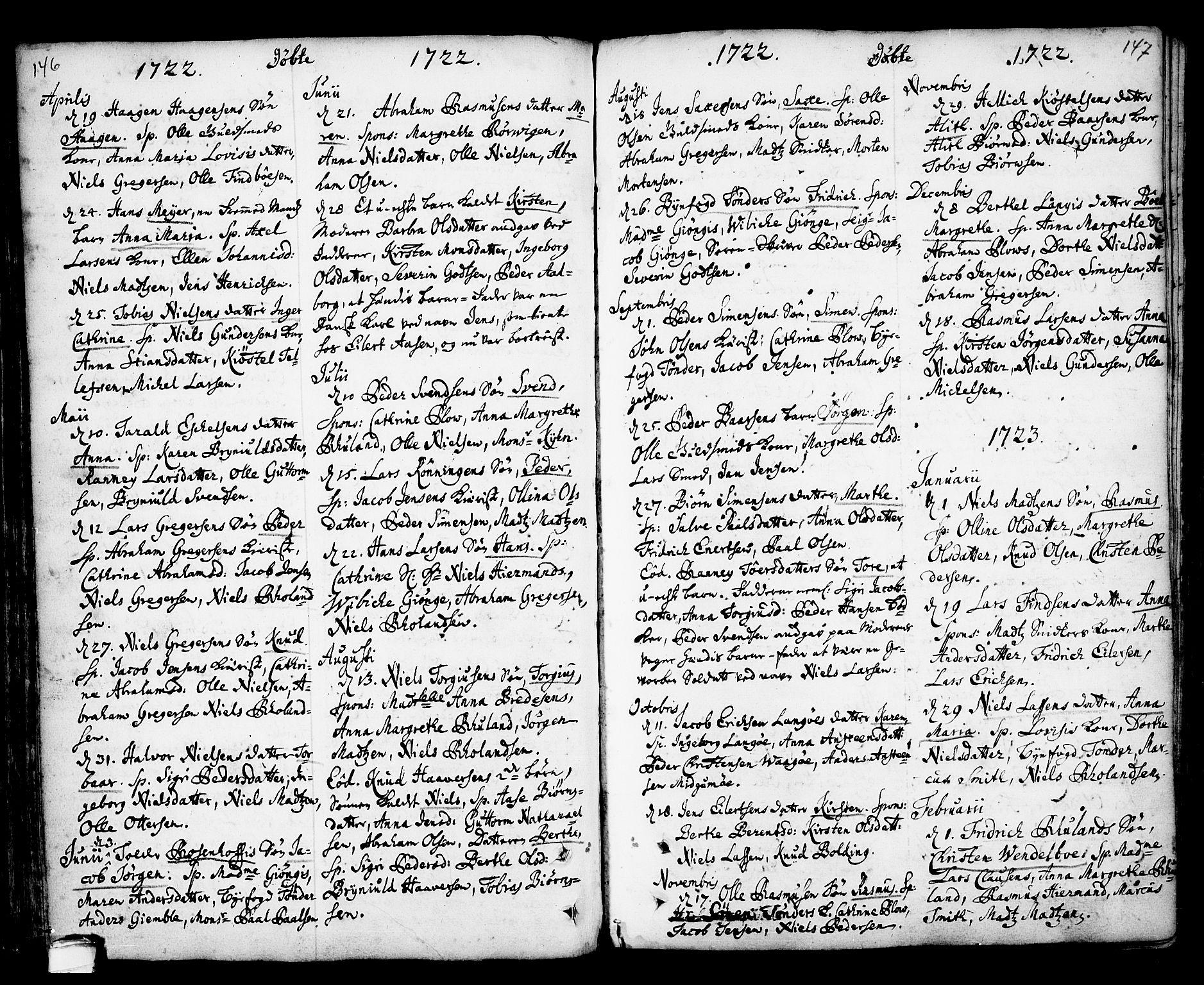 SAKO, Kragerø kirkebøker, F/Fa/L0001: Ministerialbok nr. 1, 1702-1766, s. 146-147