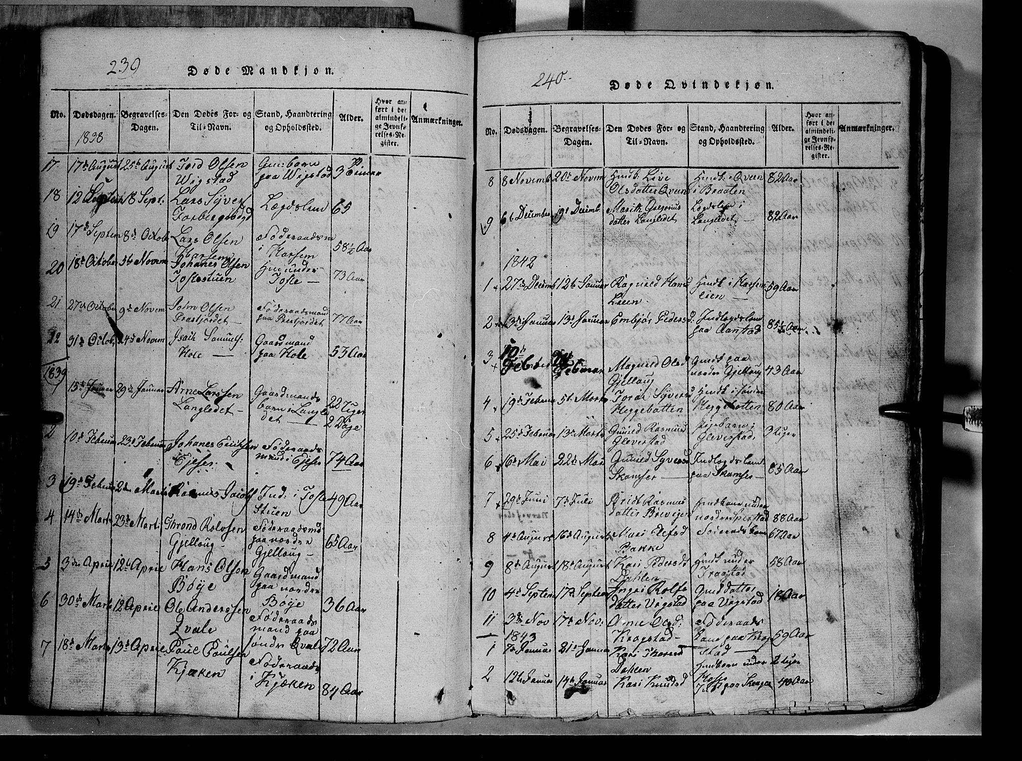 SAH, Lom prestekontor, L/L0003: Klokkerbok nr. 3, 1815-1844, s. 239-240