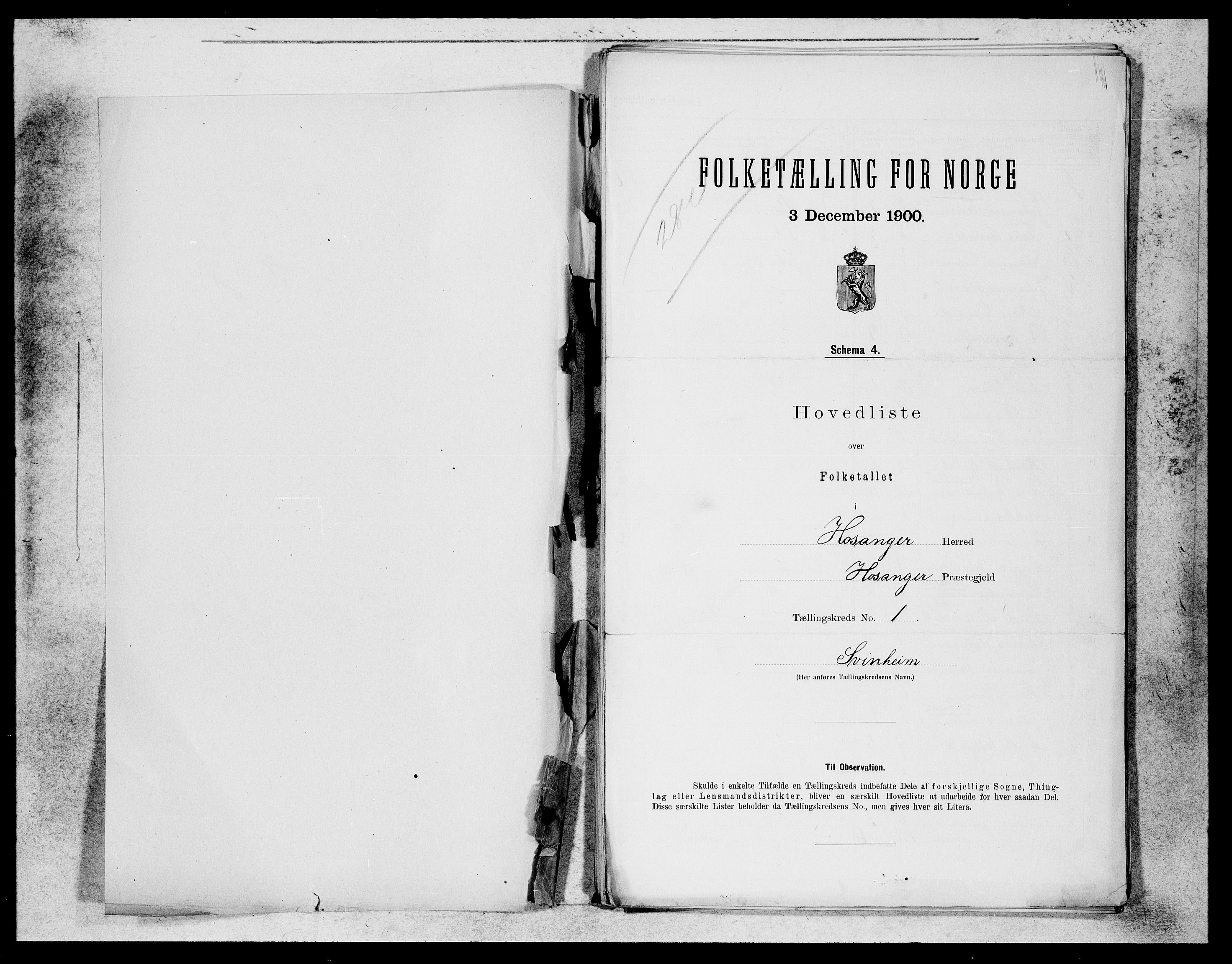 SAB, Folketelling 1900 for 1253 Hosanger herred, 1900, s. 1