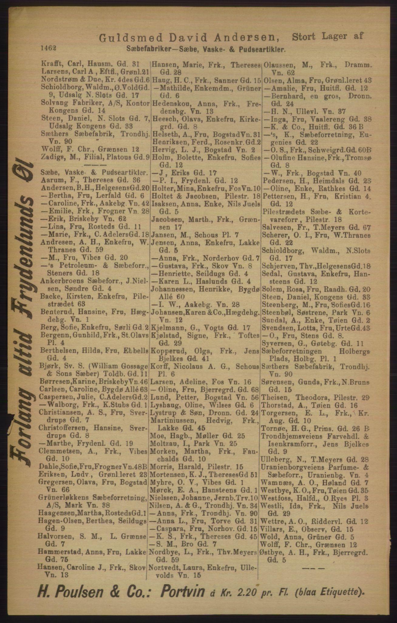 PUBL, Kristiania/Oslo adressebok, 1906, s. 1462