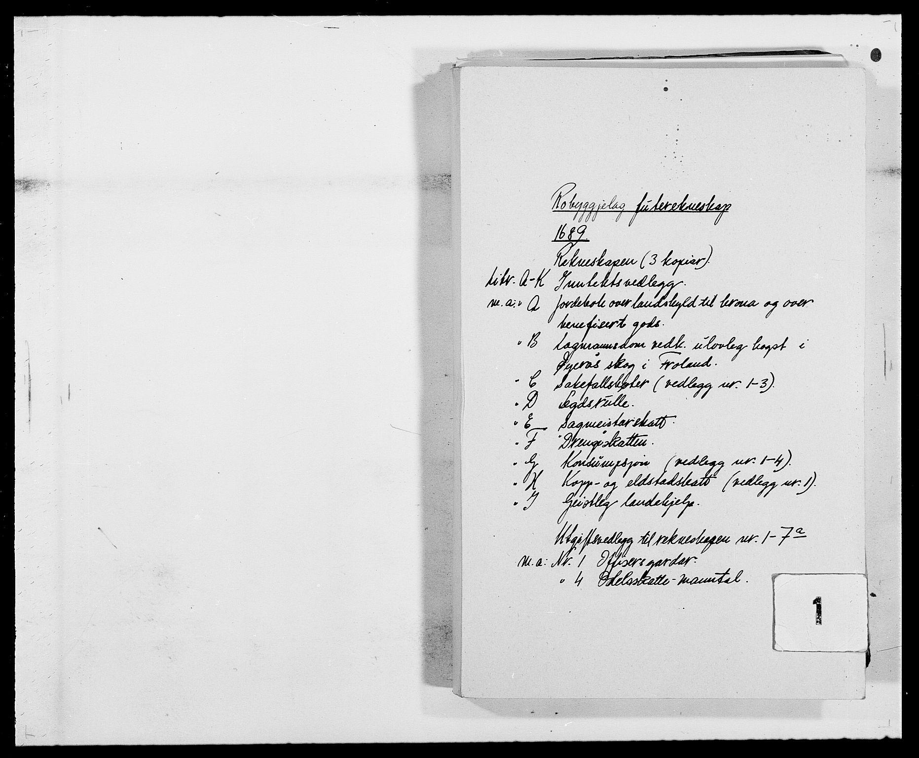 RA, Rentekammeret inntil 1814, Reviderte regnskaper, Fogderegnskap, R40/L2442: Fogderegnskap Råbyggelag, 1689-1690, s. 1