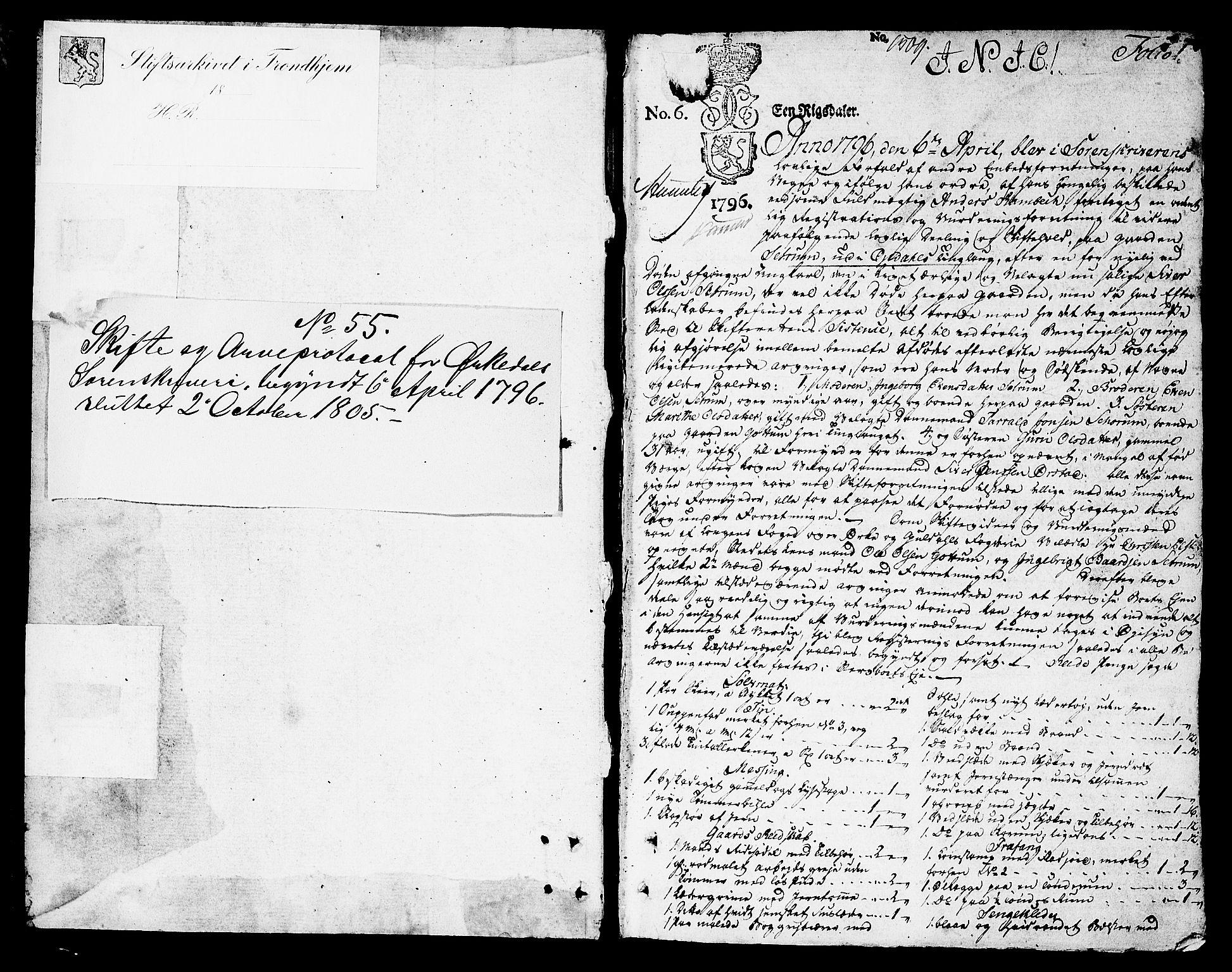 SAT, Orkdal sorenskriveri, 3/3Aa/L0009: Skifteprotokoller, 1796-1805, s. 0b-1a