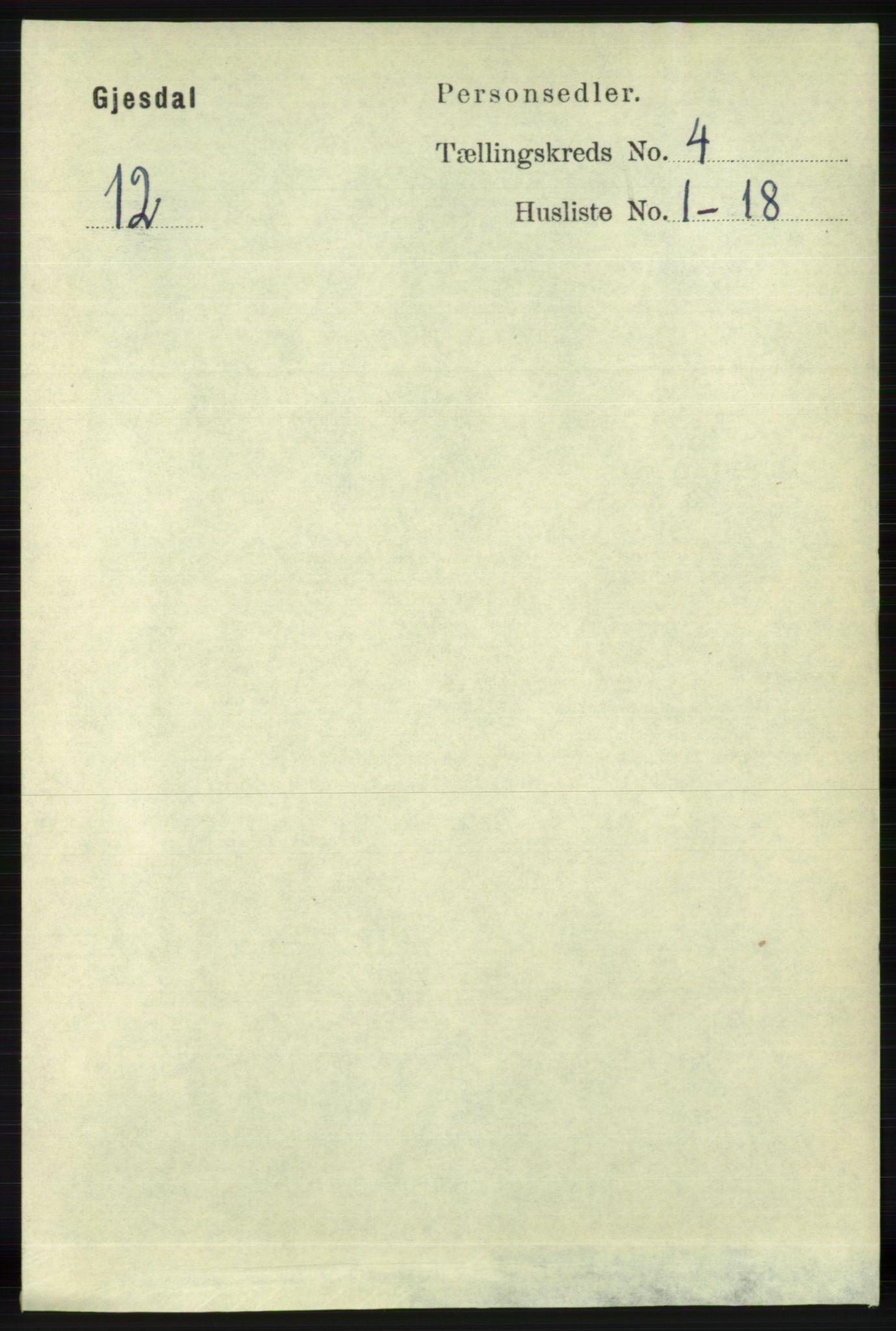 RA, Folketelling 1891 for 1122 Gjesdal herred, 1891, s. 1181