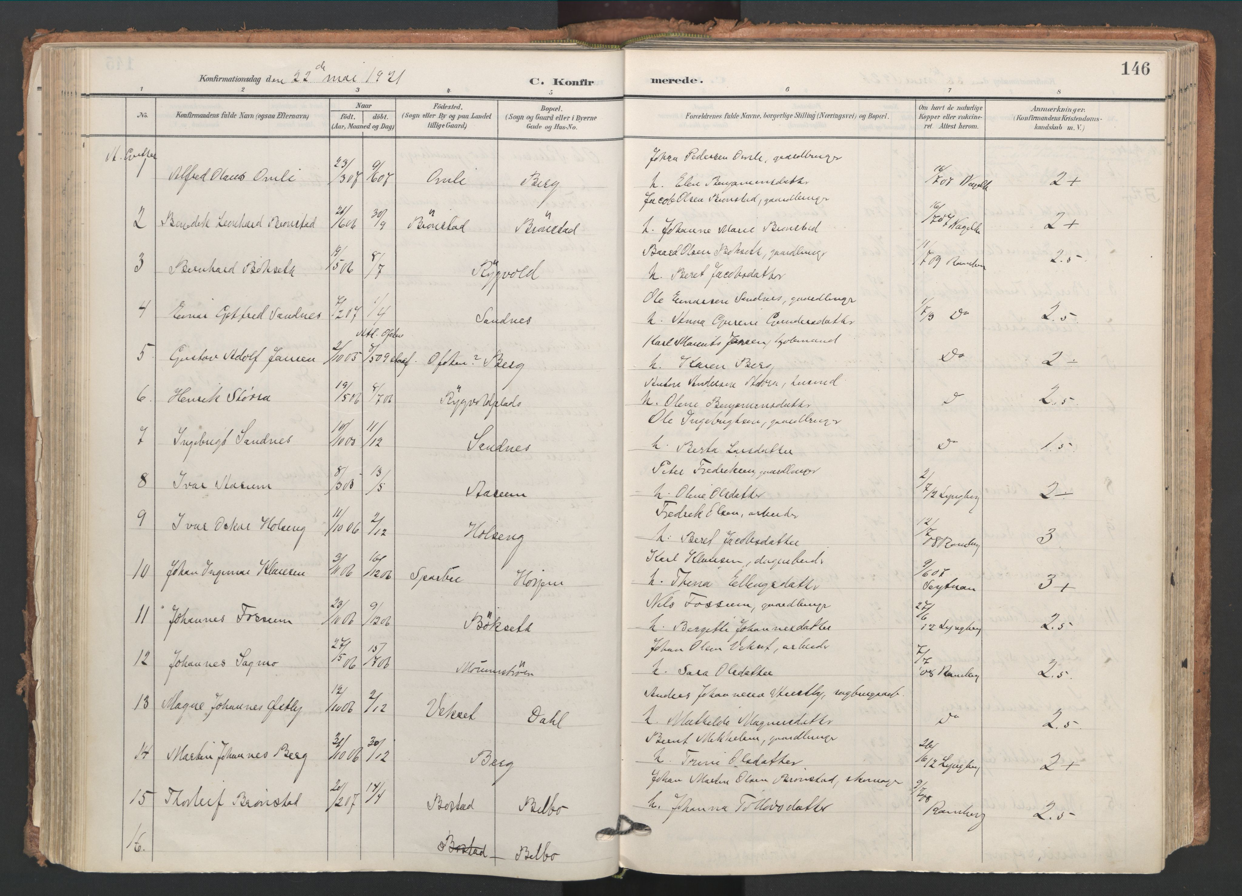 SAT, Ministerialprotokoller, klokkerbøker og fødselsregistre - Nord-Trøndelag, 749/L0477: Ministerialbok nr. 749A11, 1902-1927, s. 146