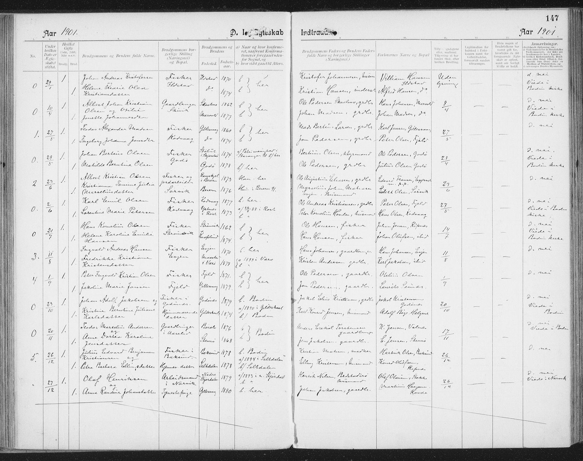 SAT, Ministerialprotokoller, klokkerbøker og fødselsregistre - Nordland, 804/L0081: Ministerialbok nr. 804A02, 1901-1915, s. 147