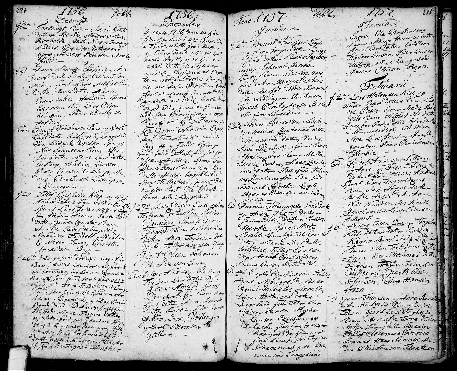 SAKO, Bamble kirkebøker, F/Fa/L0001: Ministerialbok nr. I 1, 1702-1774, s. 284-285
