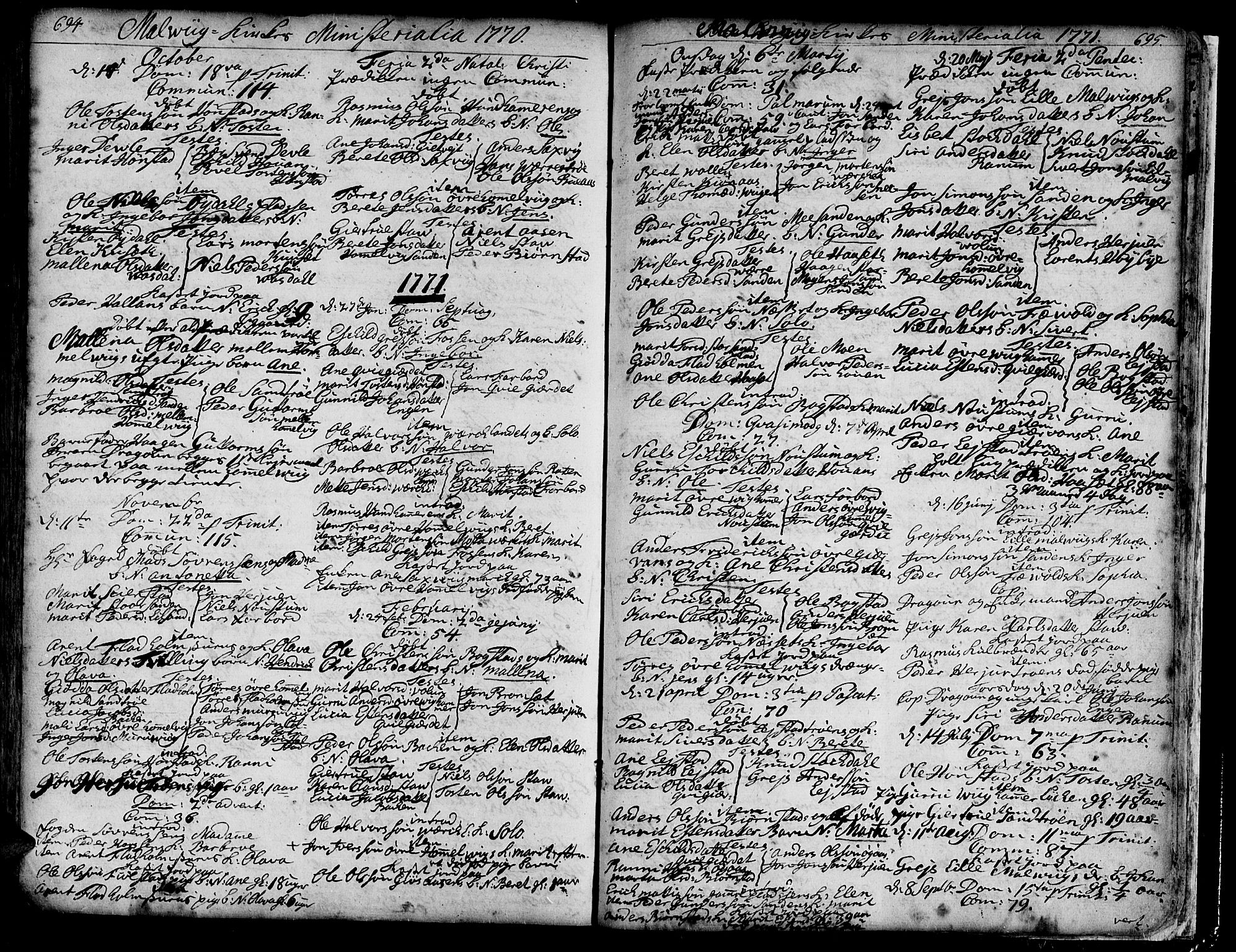 SAT, Ministerialprotokoller, klokkerbøker og fødselsregistre - Sør-Trøndelag, 606/L0277: Ministerialbok nr. 606A01 /3, 1727-1780, s. 694-695