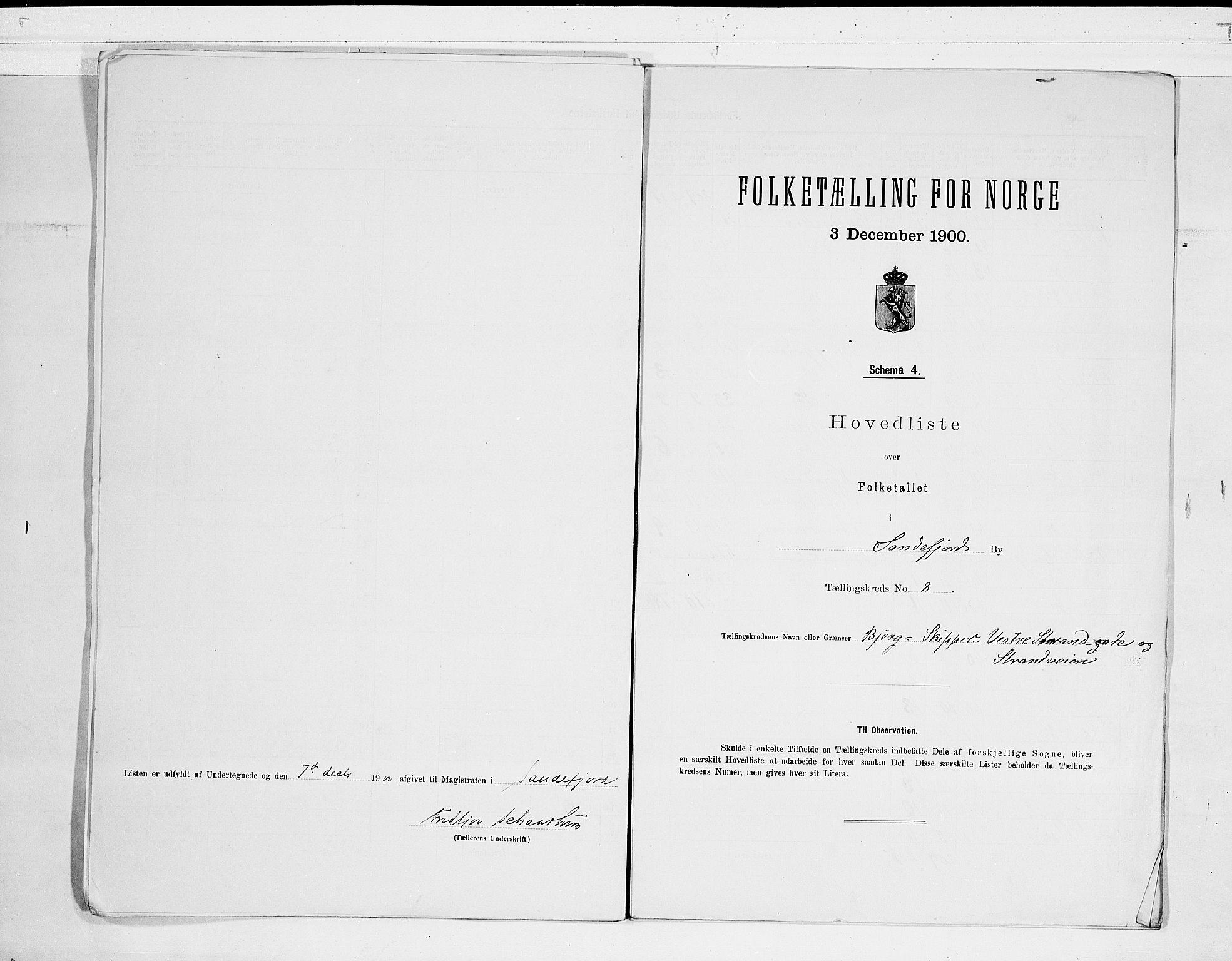 RA, Folketelling 1900 for 0706 Sandefjord kjøpstad, 1900, s. 18