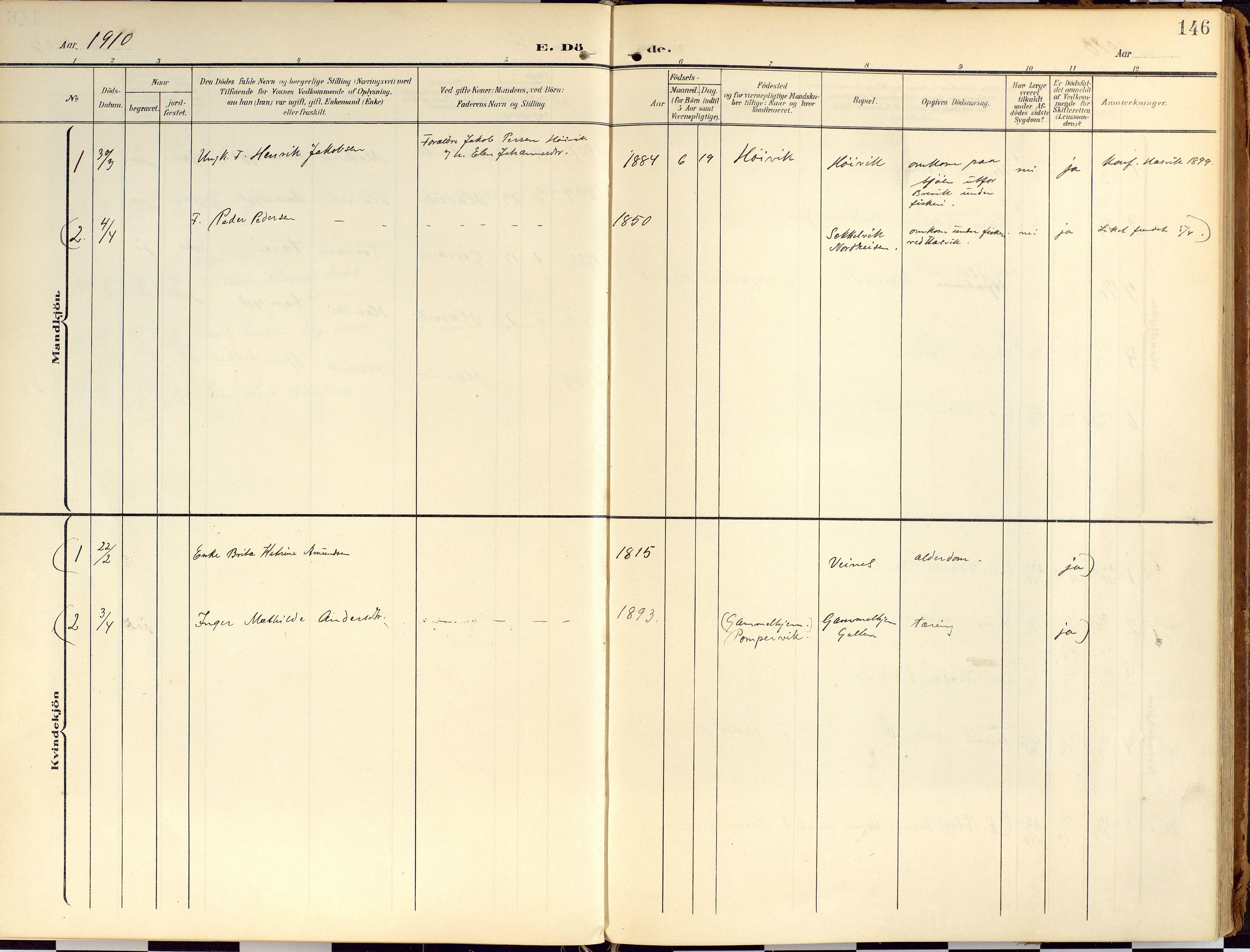 SATØ, Loppa sokneprestkontor, H/Ha/L0010kirke: Ministerialbok nr. 10, 1907-1922, s. 146