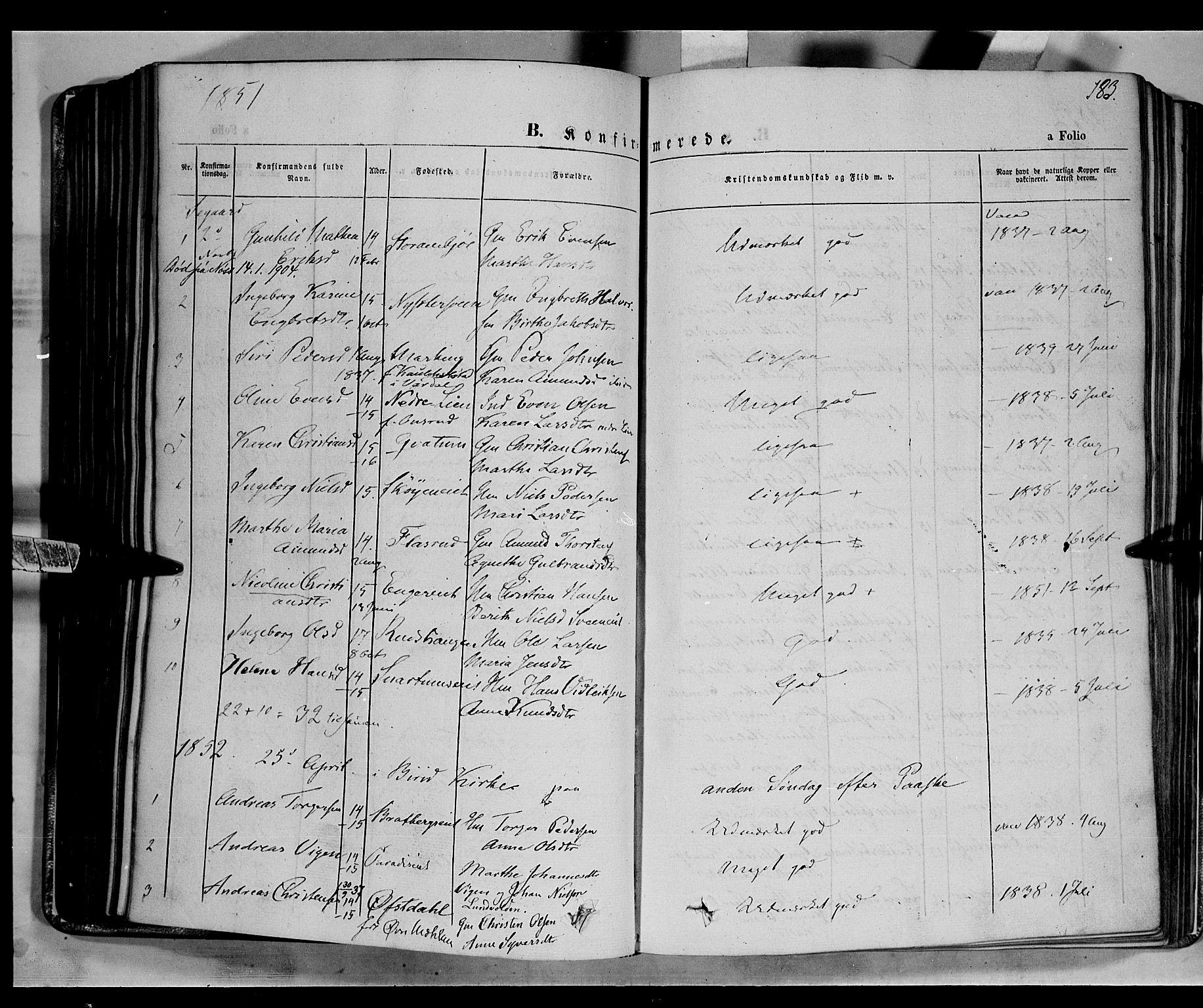 SAH, Biri prestekontor, Ministerialbok nr. 5, 1843-1854, s. 183