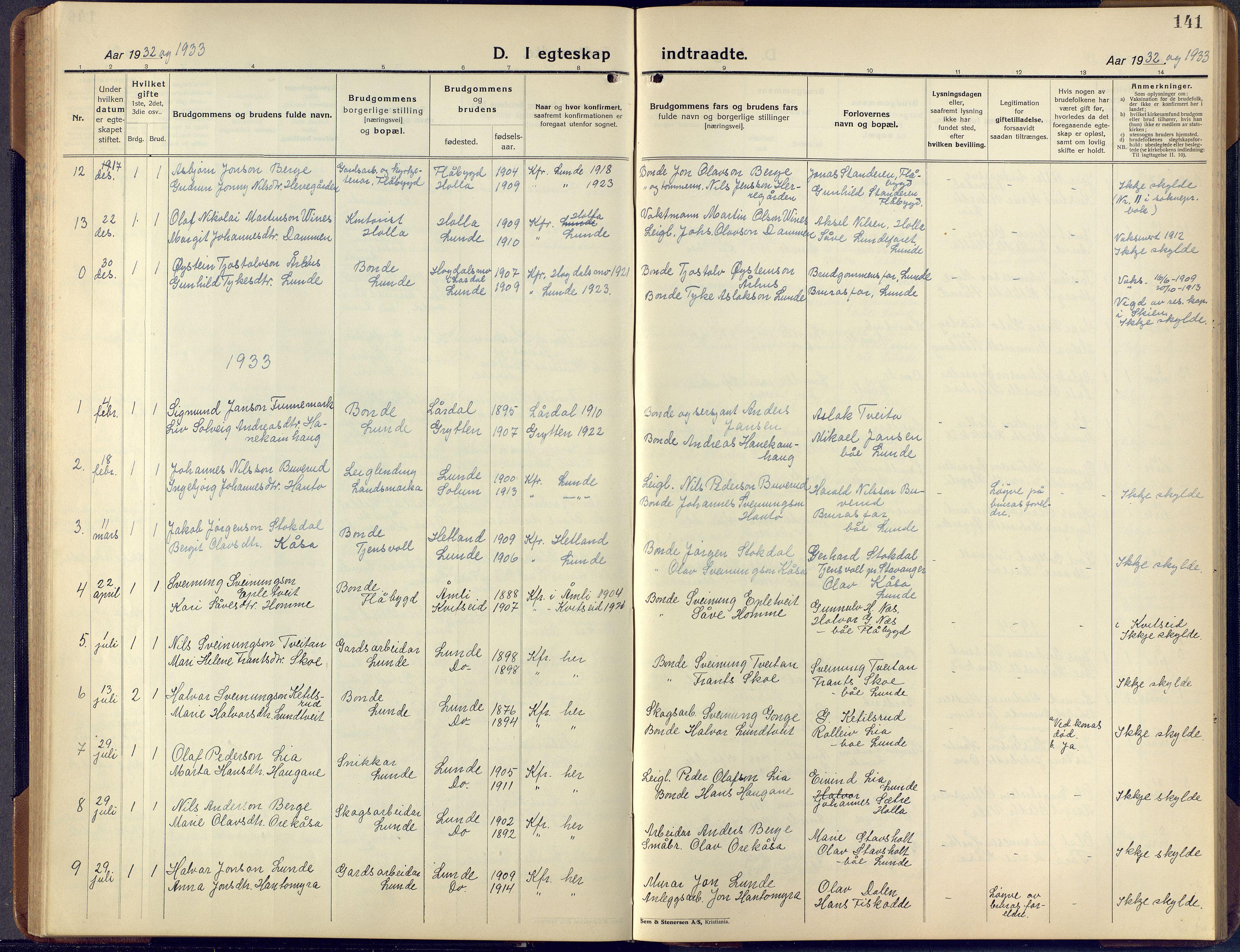 SAKO, Lunde kirkebøker, F/Fa/L0006: Ministerialbok nr. I 6, 1922-1940, s. 141