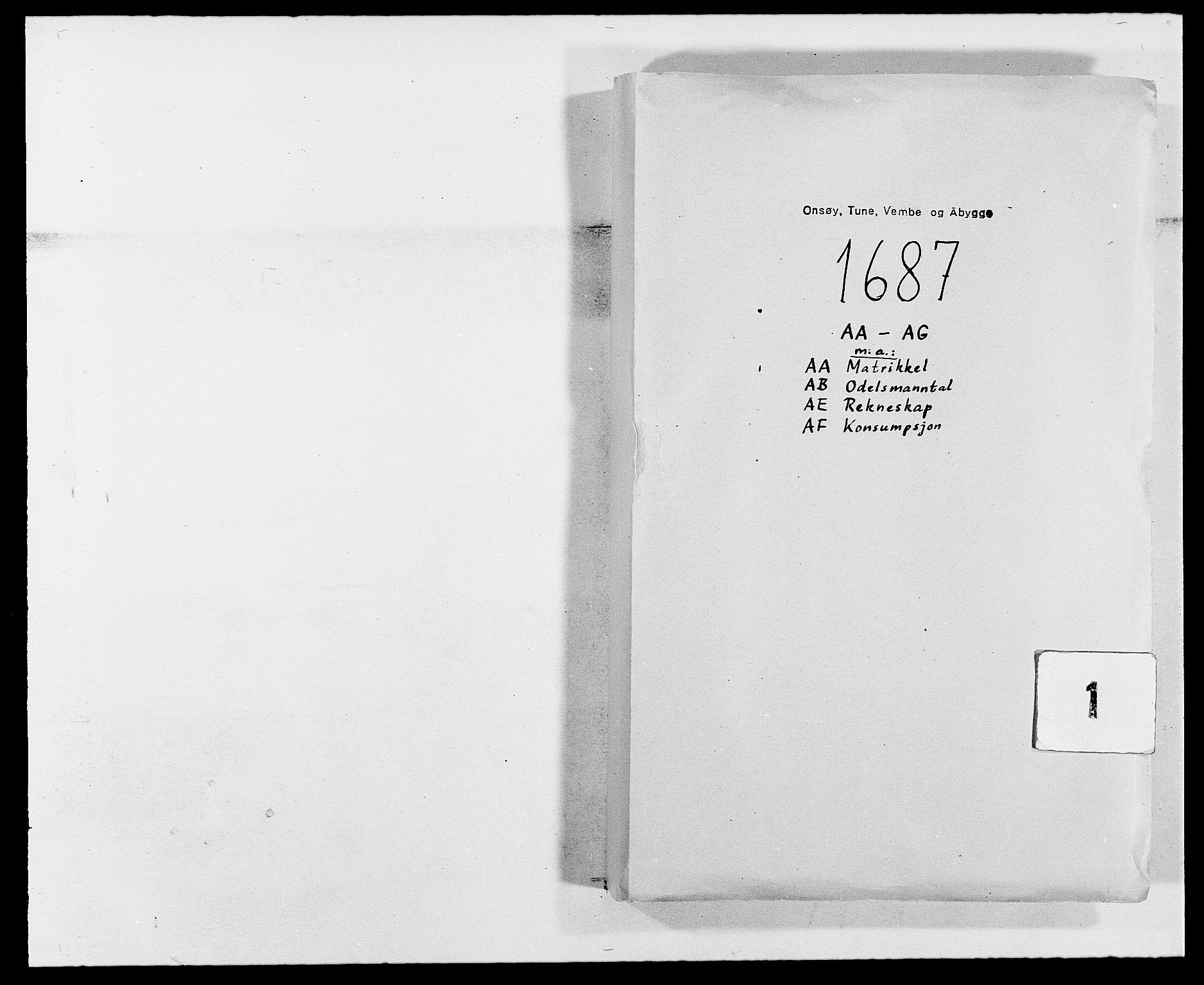 RA, Rentekammeret inntil 1814, Reviderte regnskaper, Fogderegnskap, R03/L0117: Fogderegnskap Onsøy, Tune, Veme og Åbygge fogderi, 1684-1689, s. 1