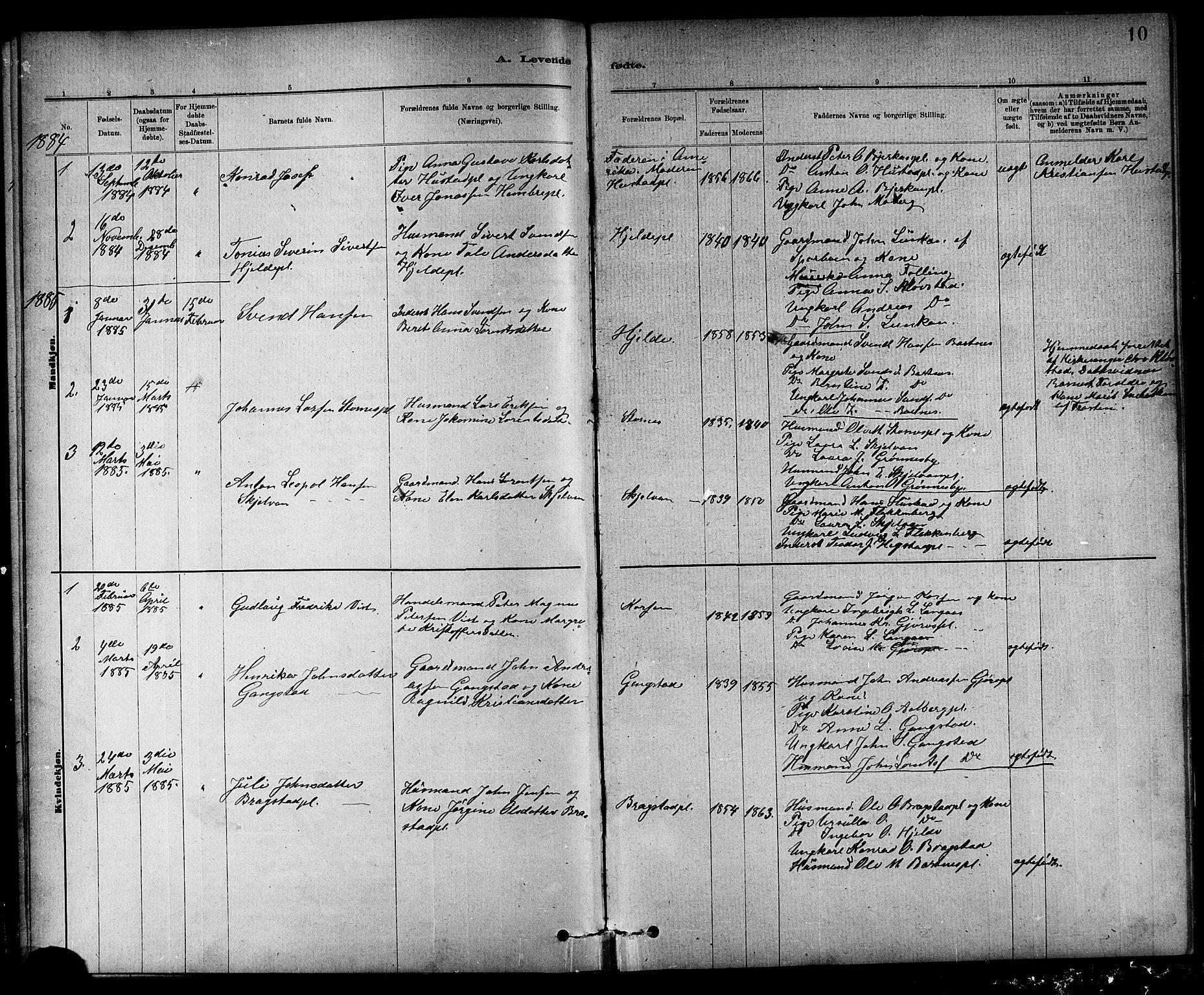 SAT, Ministerialprotokoller, klokkerbøker og fødselsregistre - Nord-Trøndelag, 732/L0318: Klokkerbok nr. 732C02, 1881-1911, s. 10