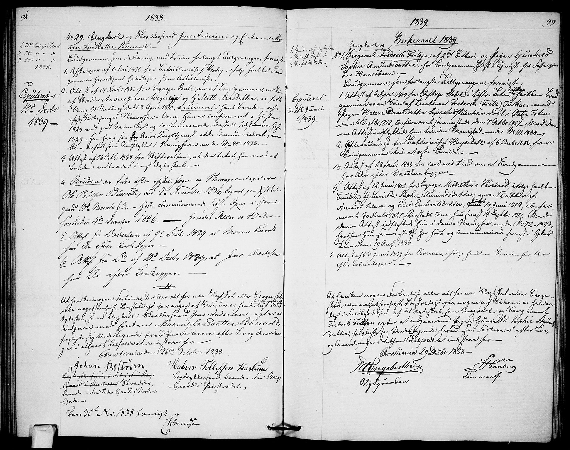 SAO, Garnisonsmenigheten Kirkebøker, H/Ha/L0003: Lysningsprotokoll nr. I 3, 1835-1840, s. 98-99