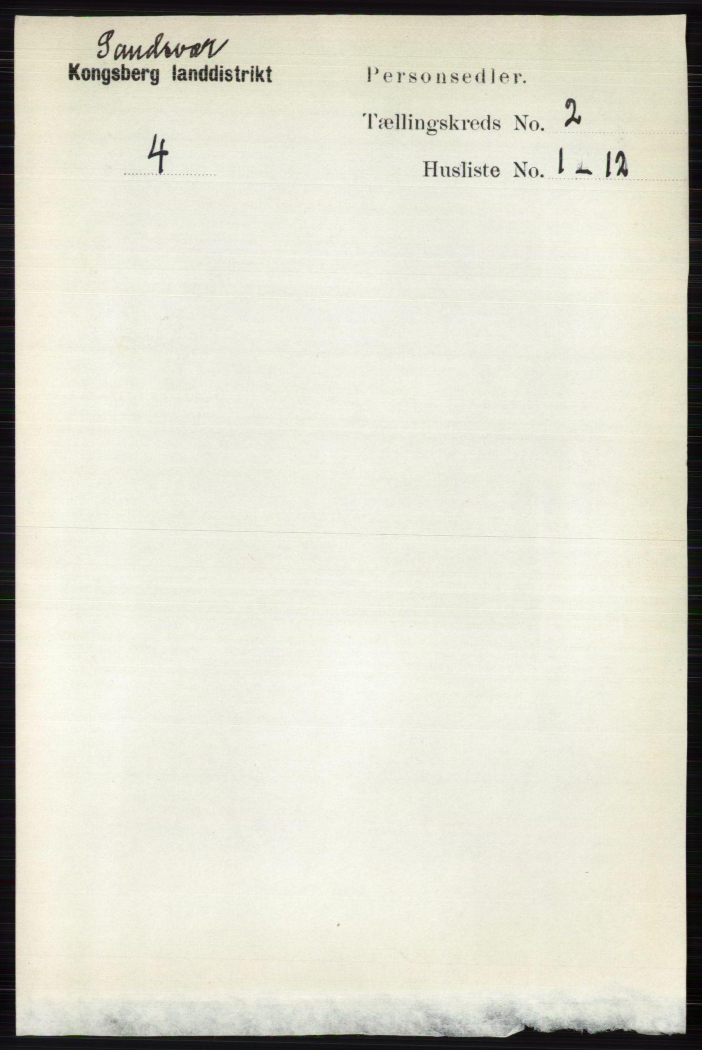 RA, Folketelling 1891 for 0629 Sandsvær herred, 1891, s. 5726