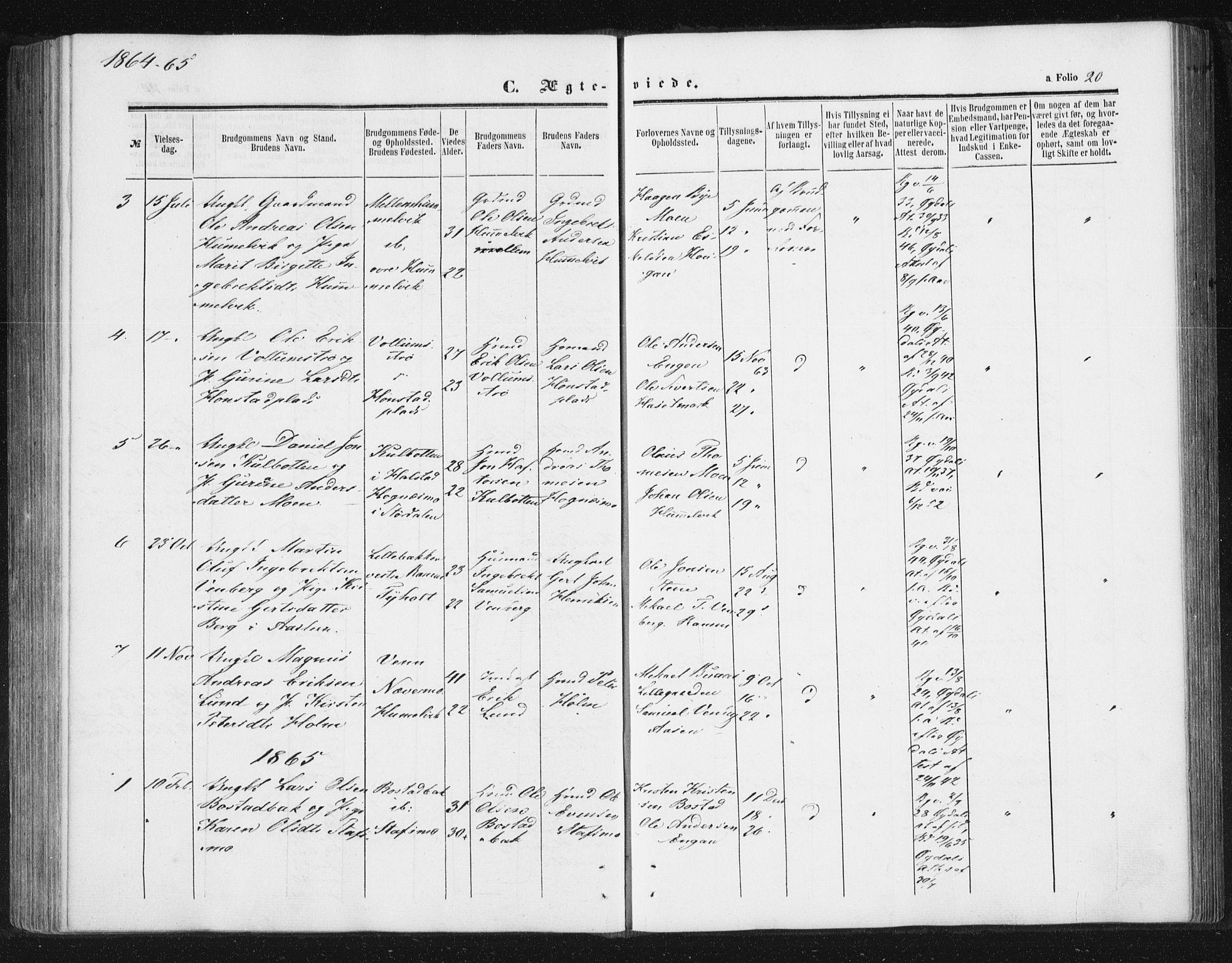SAT, Ministerialprotokoller, klokkerbøker og fødselsregistre - Sør-Trøndelag, 616/L0408: Ministerialbok nr. 616A05, 1857-1865, s. 20