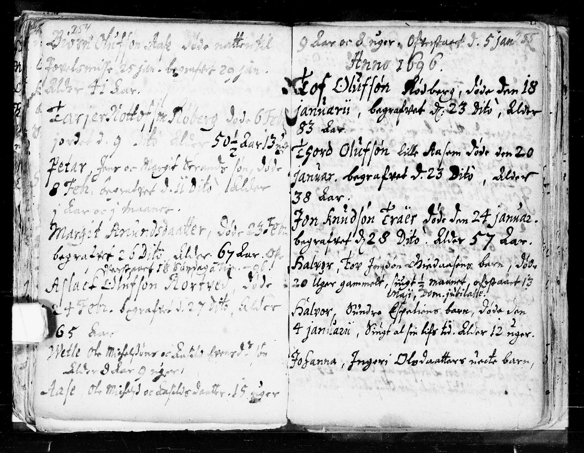 SAKO, Seljord kirkebøker, F/Fa/L0002: Ministerialbok nr. I 2, 1689-1713, s. 254-255