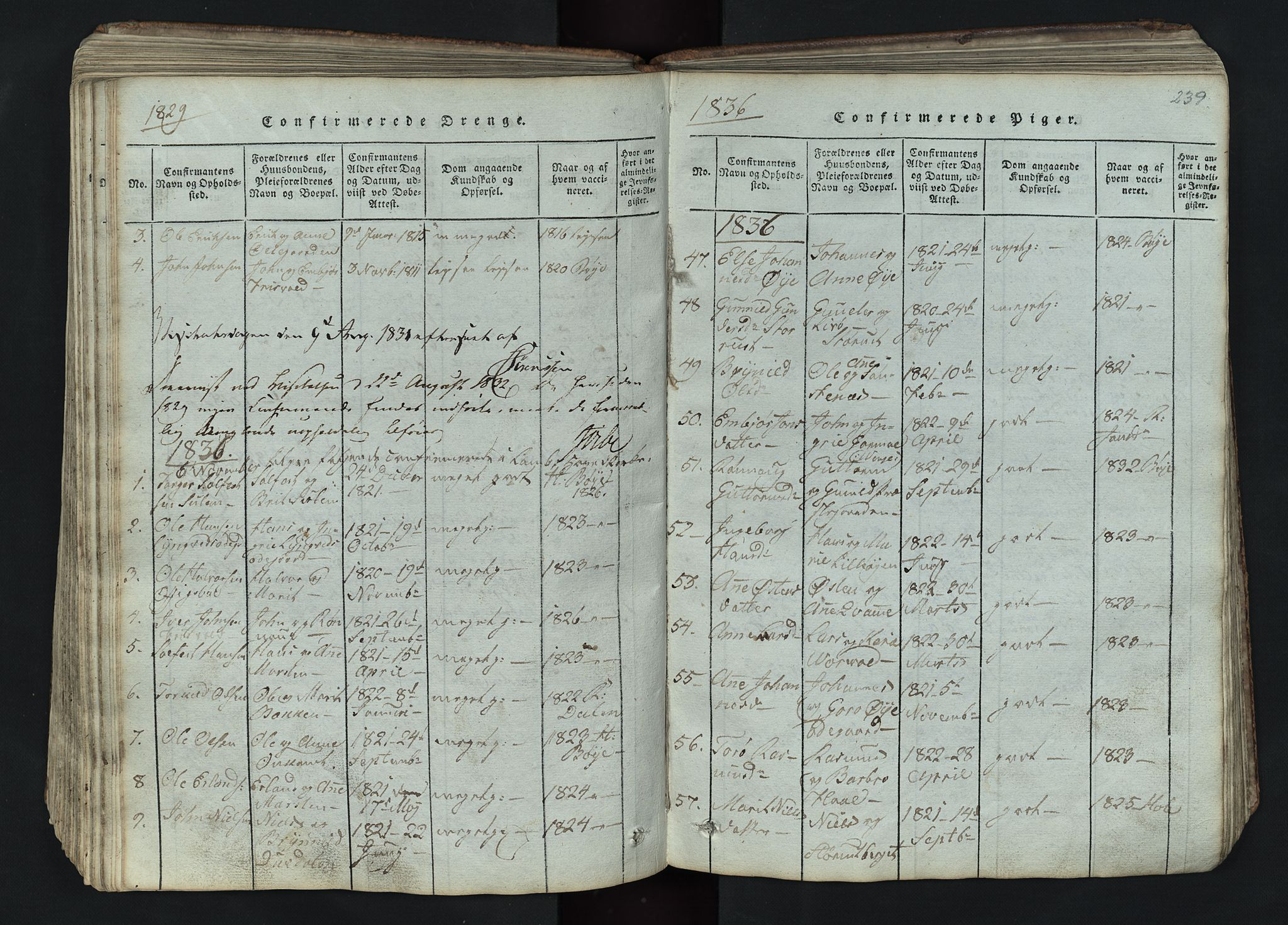 SAH, Lom prestekontor, L/L0002: Klokkerbok nr. 2, 1815-1844, s. 239