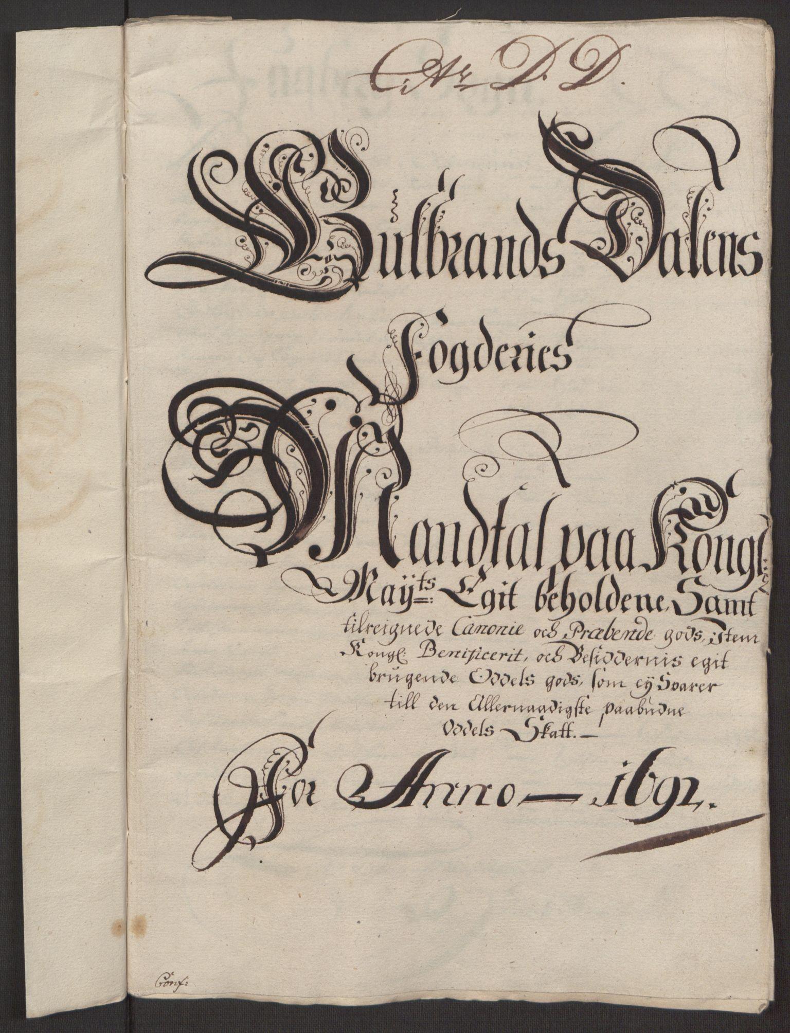 RA, Rentekammeret inntil 1814, Reviderte regnskaper, Fogderegnskap, R17/L1166: Fogderegnskap Gudbrandsdal, 1690-1692, s. 71