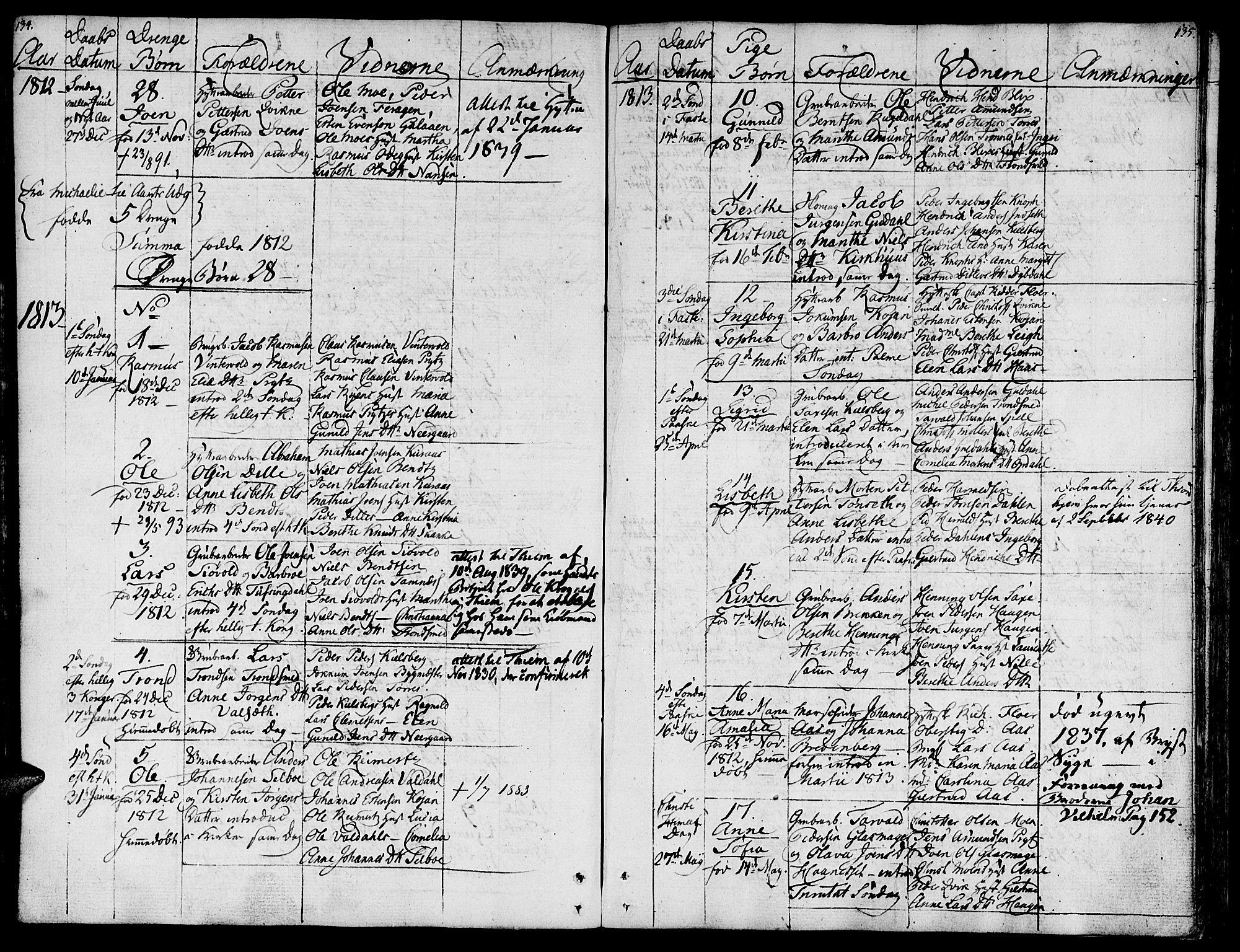 SAT, Ministerialprotokoller, klokkerbøker og fødselsregistre - Sør-Trøndelag, 681/L0928: Ministerialbok nr. 681A06, 1806-1816, s. 134-135