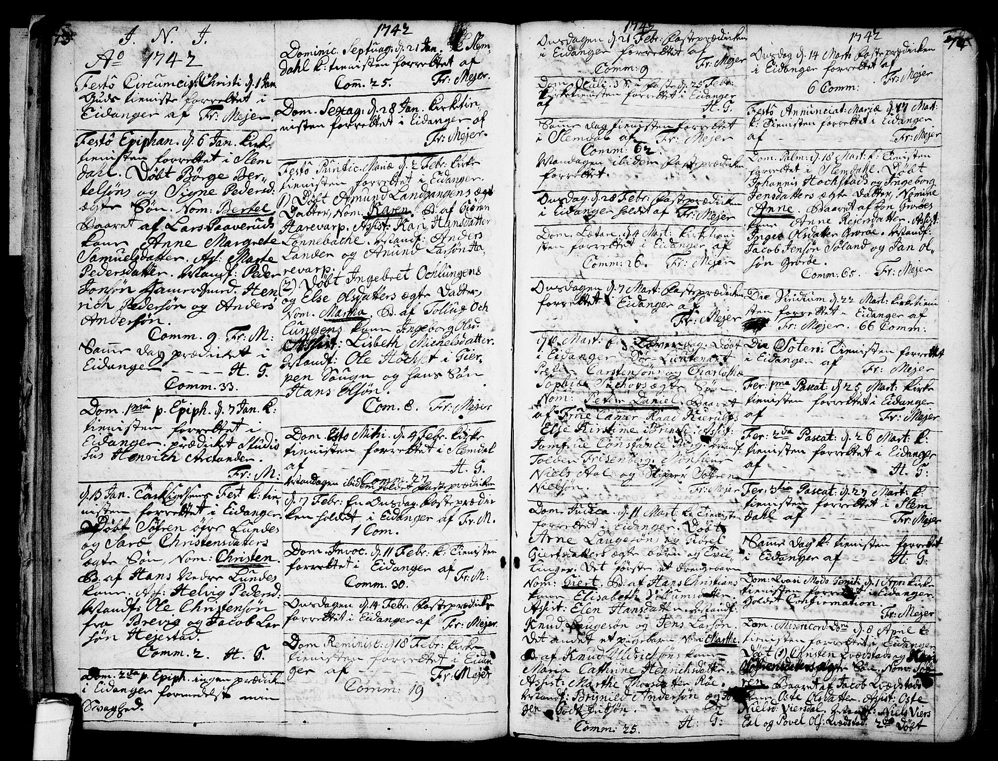 SAKO, Eidanger kirkebøker, F/Fa/L0004: Ministerialbok nr. 4, 1733-1759, s. 73-74