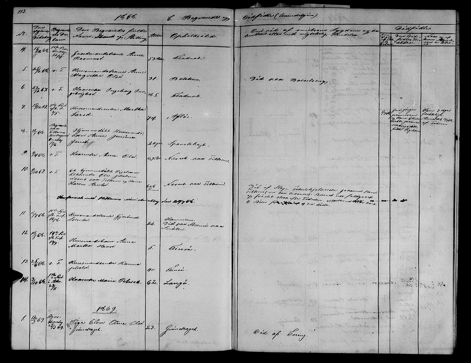 SAT, Ministerialprotokoller, klokkerbøker og fødselsregistre - Sør-Trøndelag, 634/L0539: Klokkerbok nr. 634C01, 1866-1873, s. 113