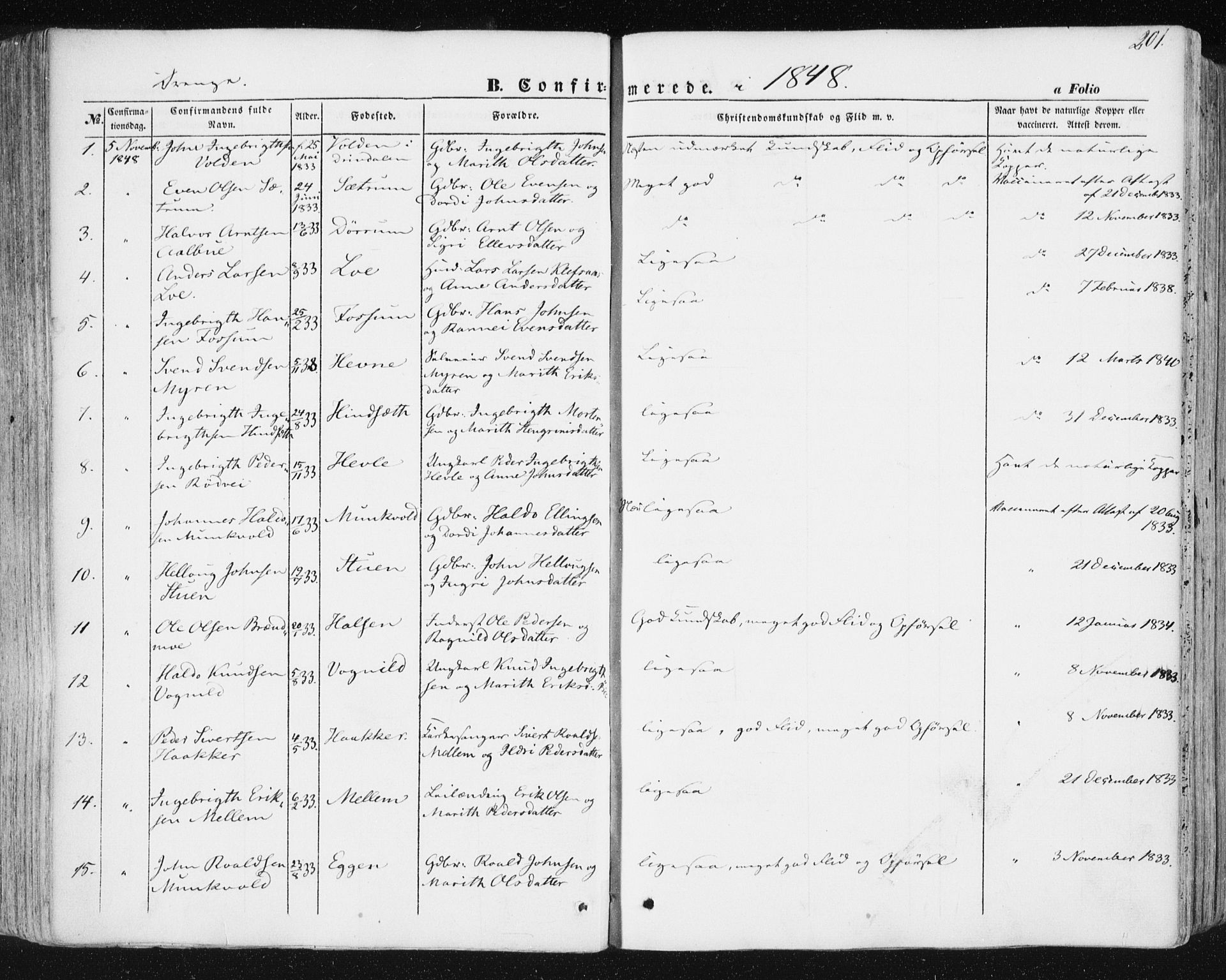 SAT, Ministerialprotokoller, klokkerbøker og fødselsregistre - Sør-Trøndelag, 678/L0899: Ministerialbok nr. 678A08, 1848-1872, s. 201
