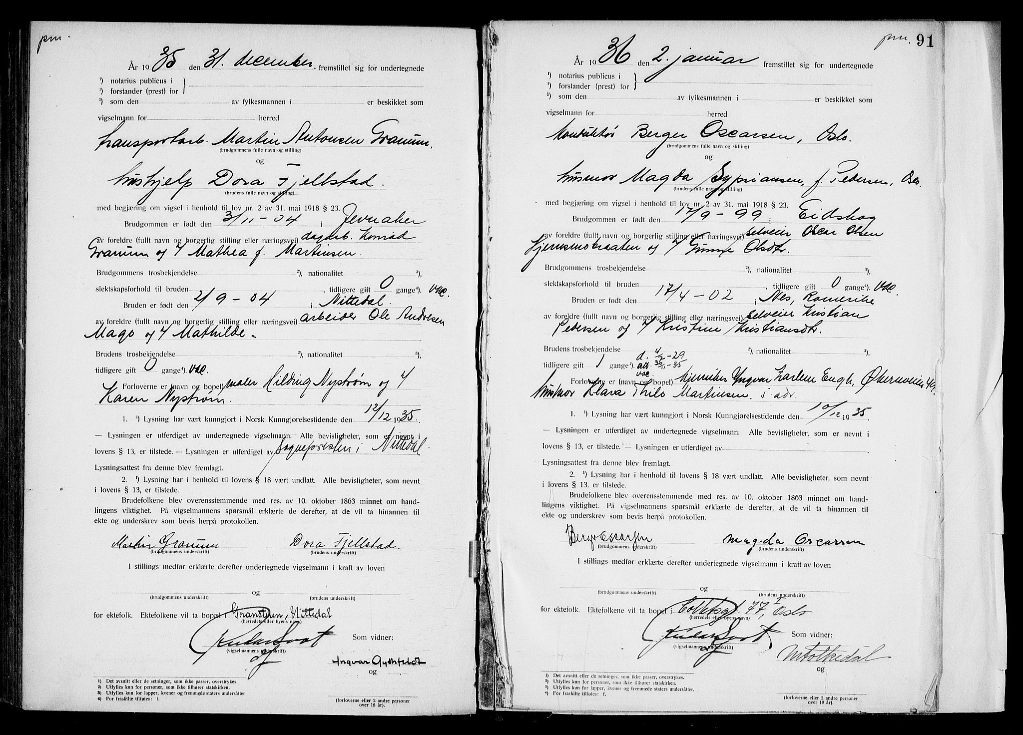 SAO, Oslo byfogd avd. I, L/Lb/Lbb/L0025: Notarialprotokoll, rekke II: Vigsler, 1935-1936, s. 90b-91a