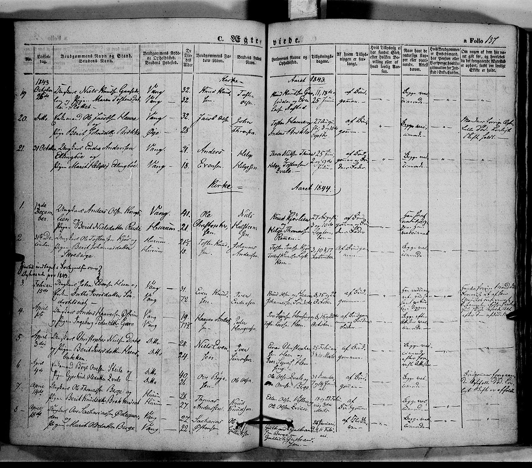 SAH, Vang prestekontor, Valdres, Ministerialbok nr. 5, 1831-1845, s. 137