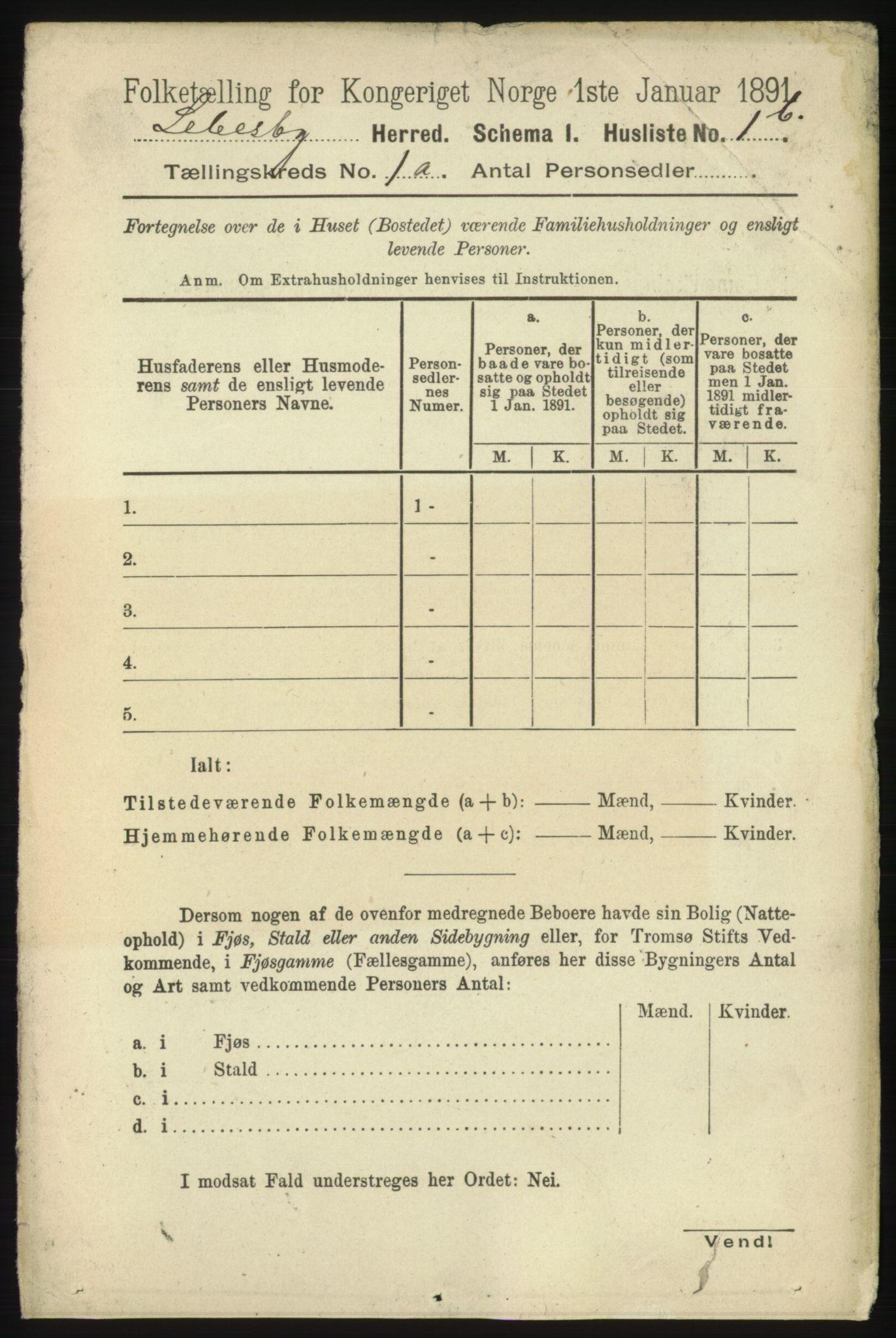 RA, Folketelling 1891 for 2022 Lebesby herred, 1891, s. 21