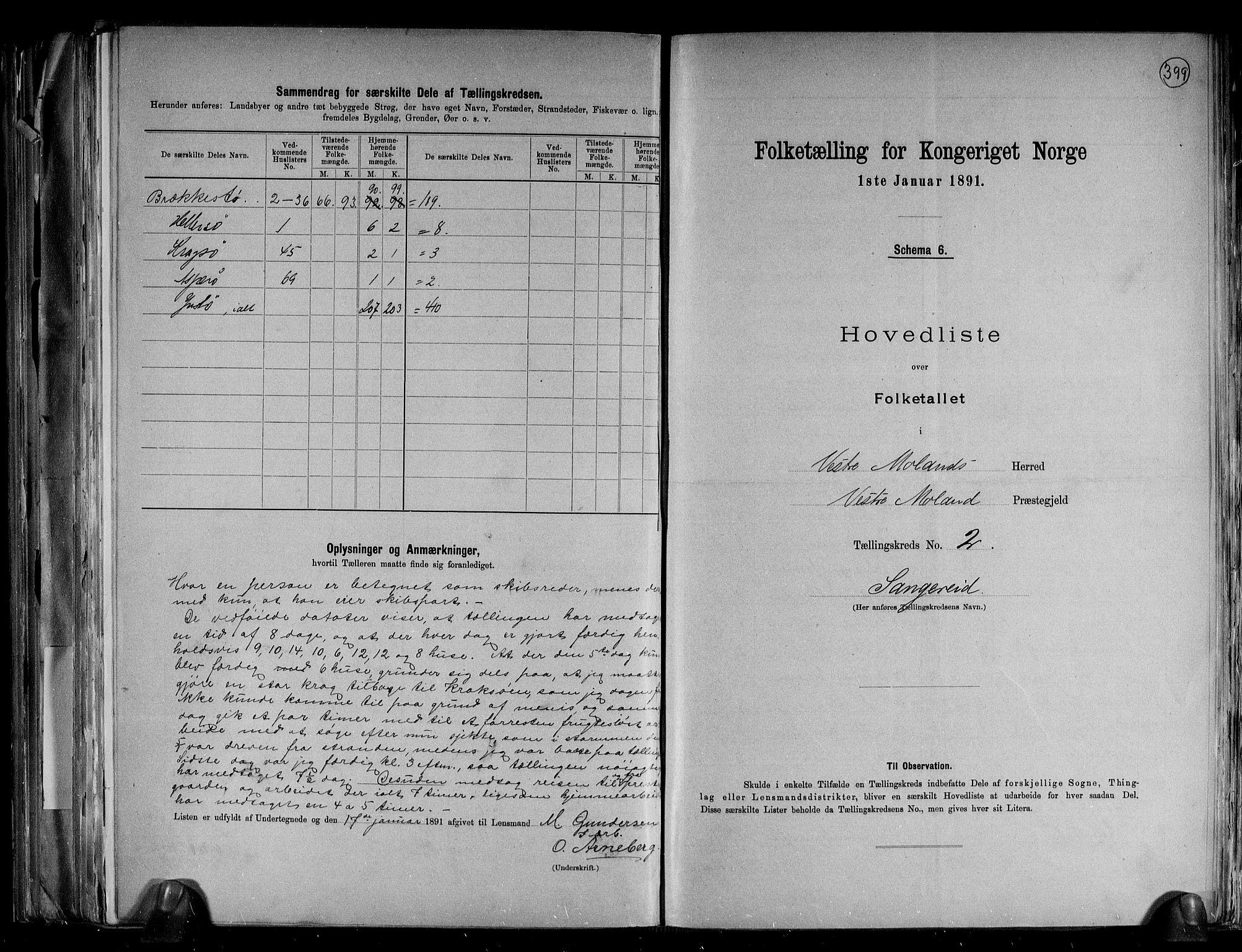 RA, Folketelling 1891 for 0926 Vestre Moland herred, 1891, s. 8