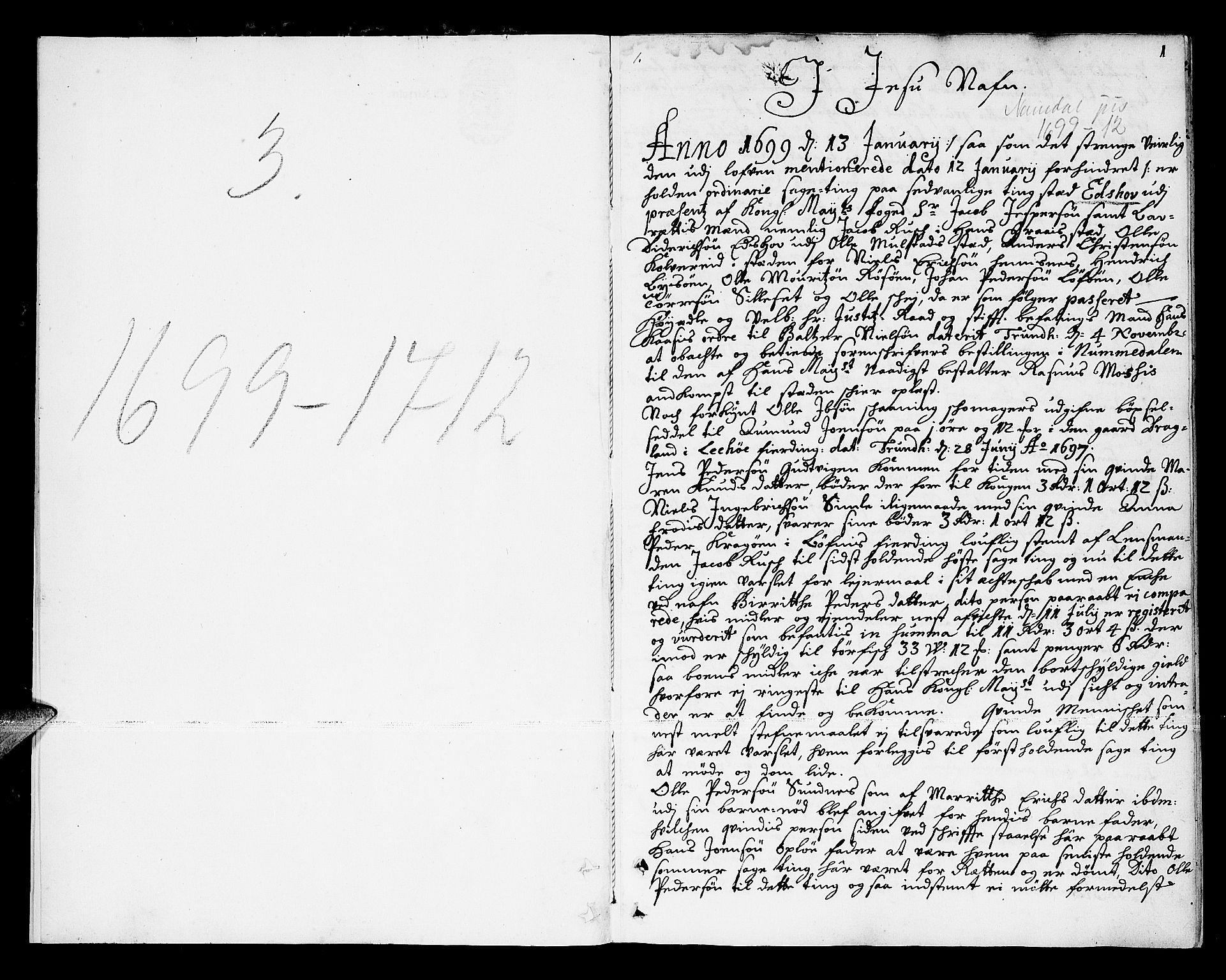 SAT, Namdal sorenskriveri, 1/1A/L0003: Tingbok, 1699-1712, s. 0b-1a