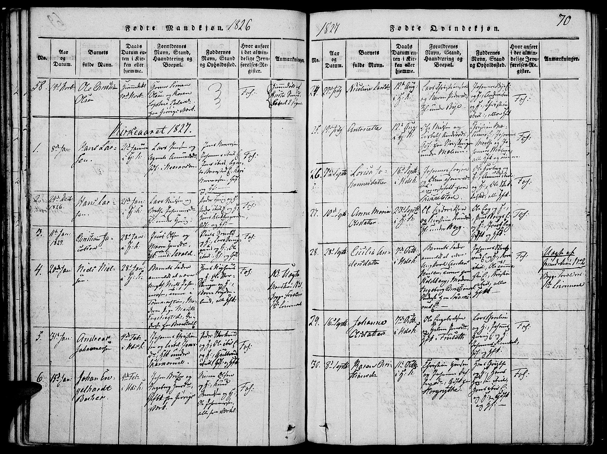 SAH, Vardal prestekontor, H/Ha/Haa/L0004: Ministerialbok nr. 4, 1814-1831, s. 70