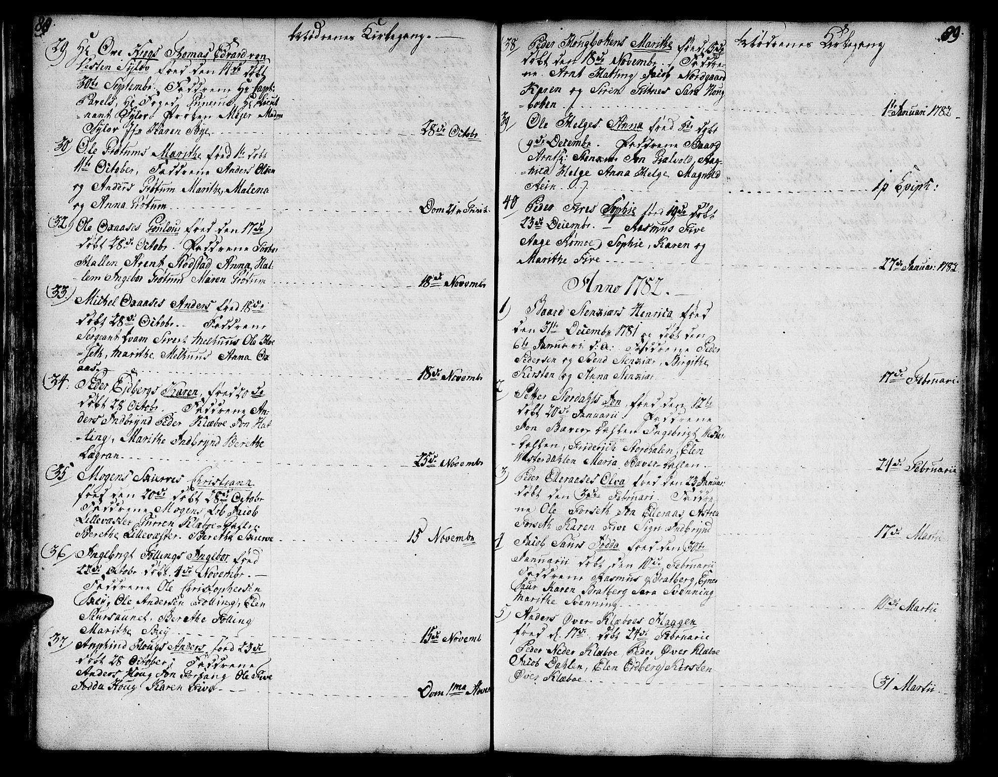 SAT, Ministerialprotokoller, klokkerbøker og fødselsregistre - Nord-Trøndelag, 746/L0440: Ministerialbok nr. 746A02, 1760-1815, s. 88-89