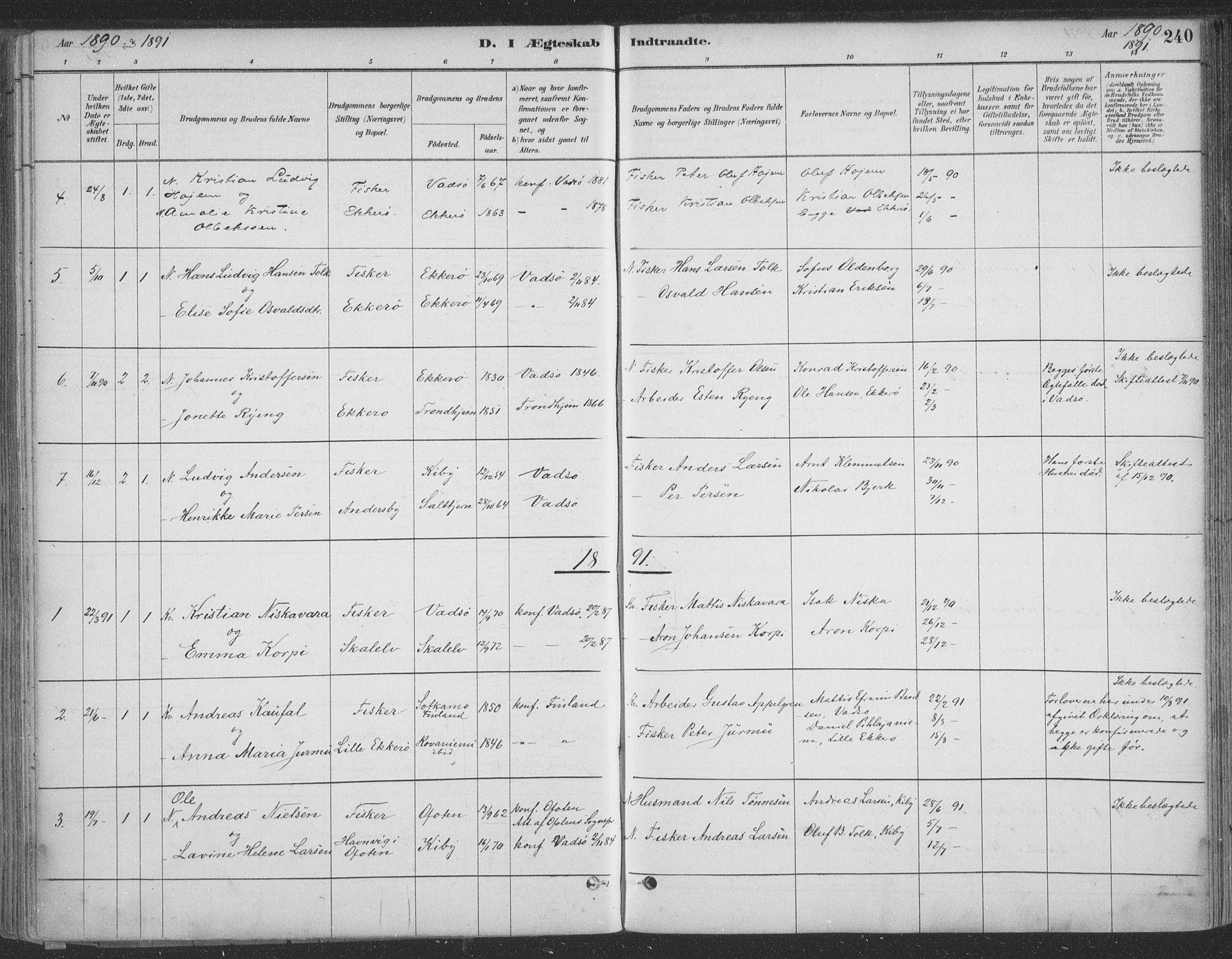 SATØ, Vadsø sokneprestkontor, H/Ha/L0009kirke: Ministerialbok nr. 9, 1881-1917, s. 240