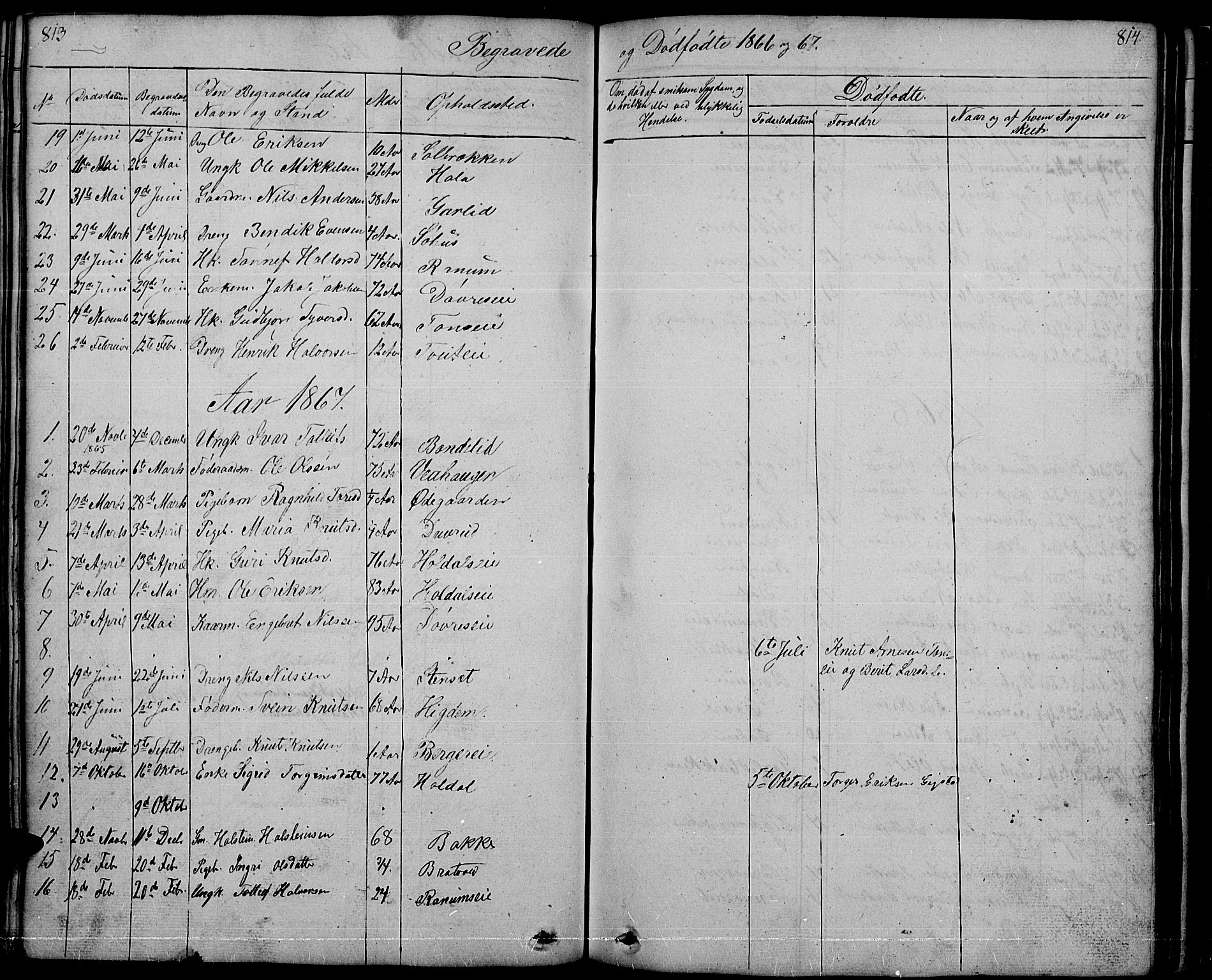 SAH, Nord-Aurdal prestekontor, Klokkerbok nr. 1, 1834-1887, s. 813-814