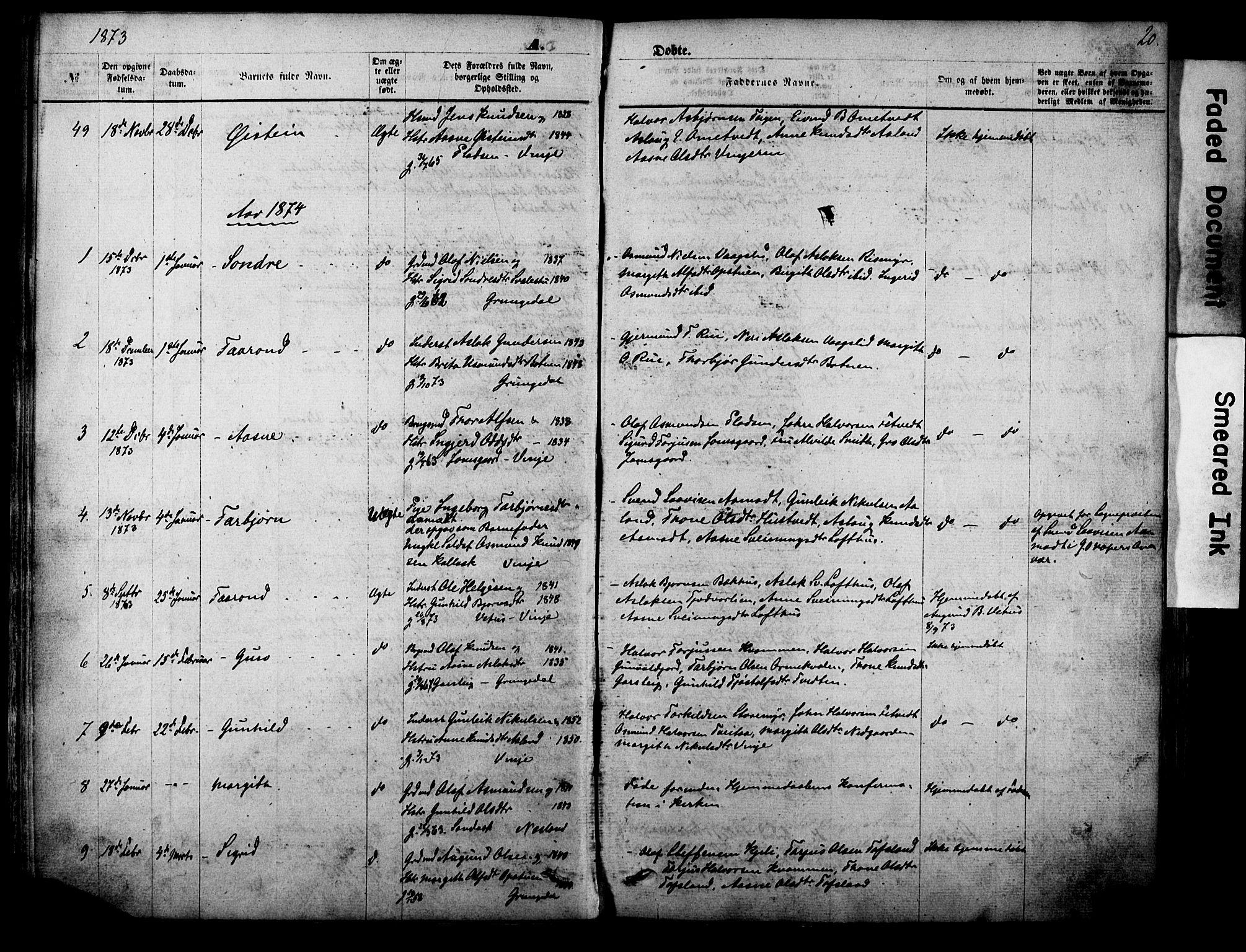 SAKO, Vinje kirkebøker, F/Fa/L0005: Ministerialbok nr. I 5, 1870-1886, s. 20