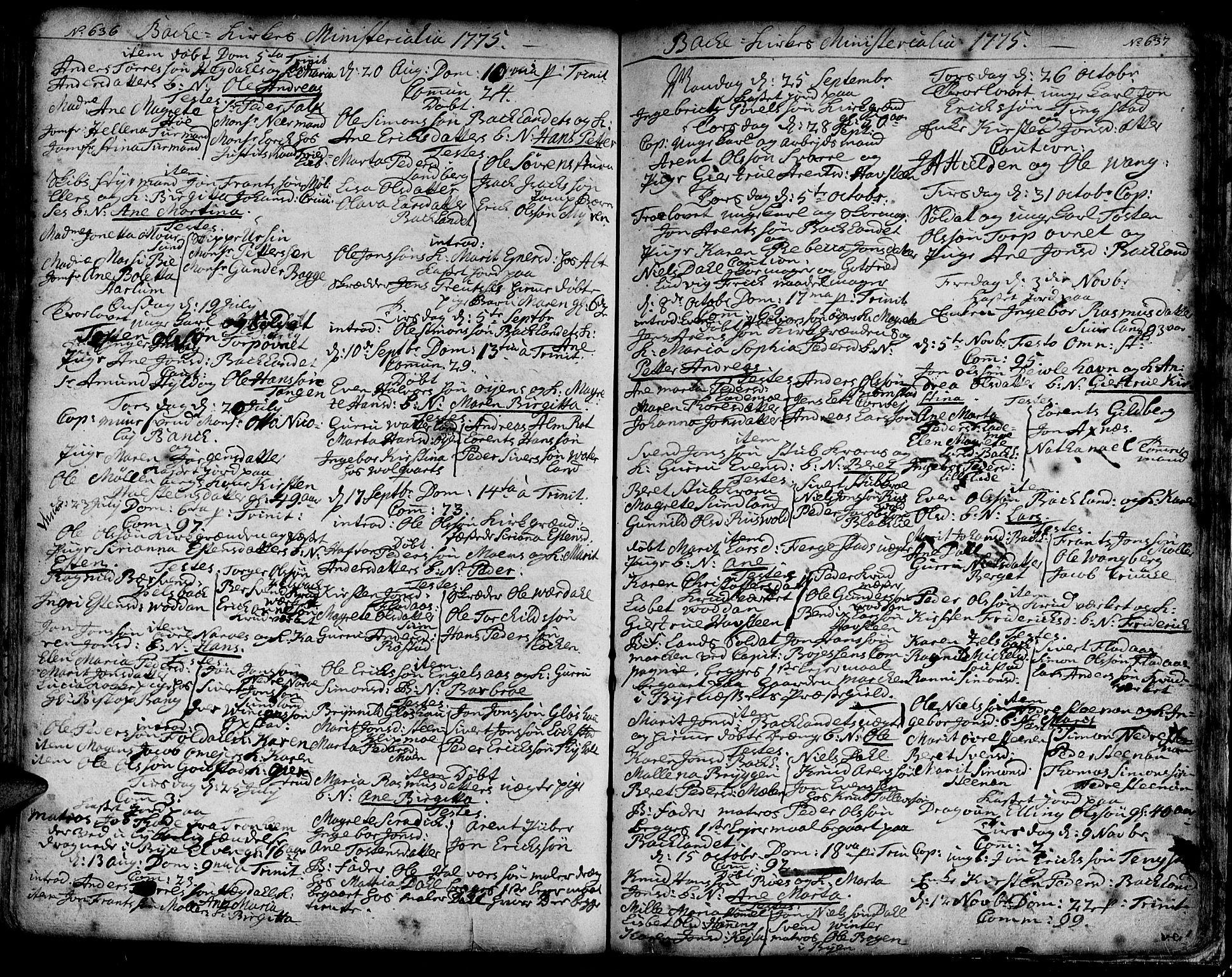 SAT, Ministerialprotokoller, klokkerbøker og fødselsregistre - Sør-Trøndelag, 606/L0276: Ministerialbok nr. 606A01 /2, 1727-1779, s. 636-637