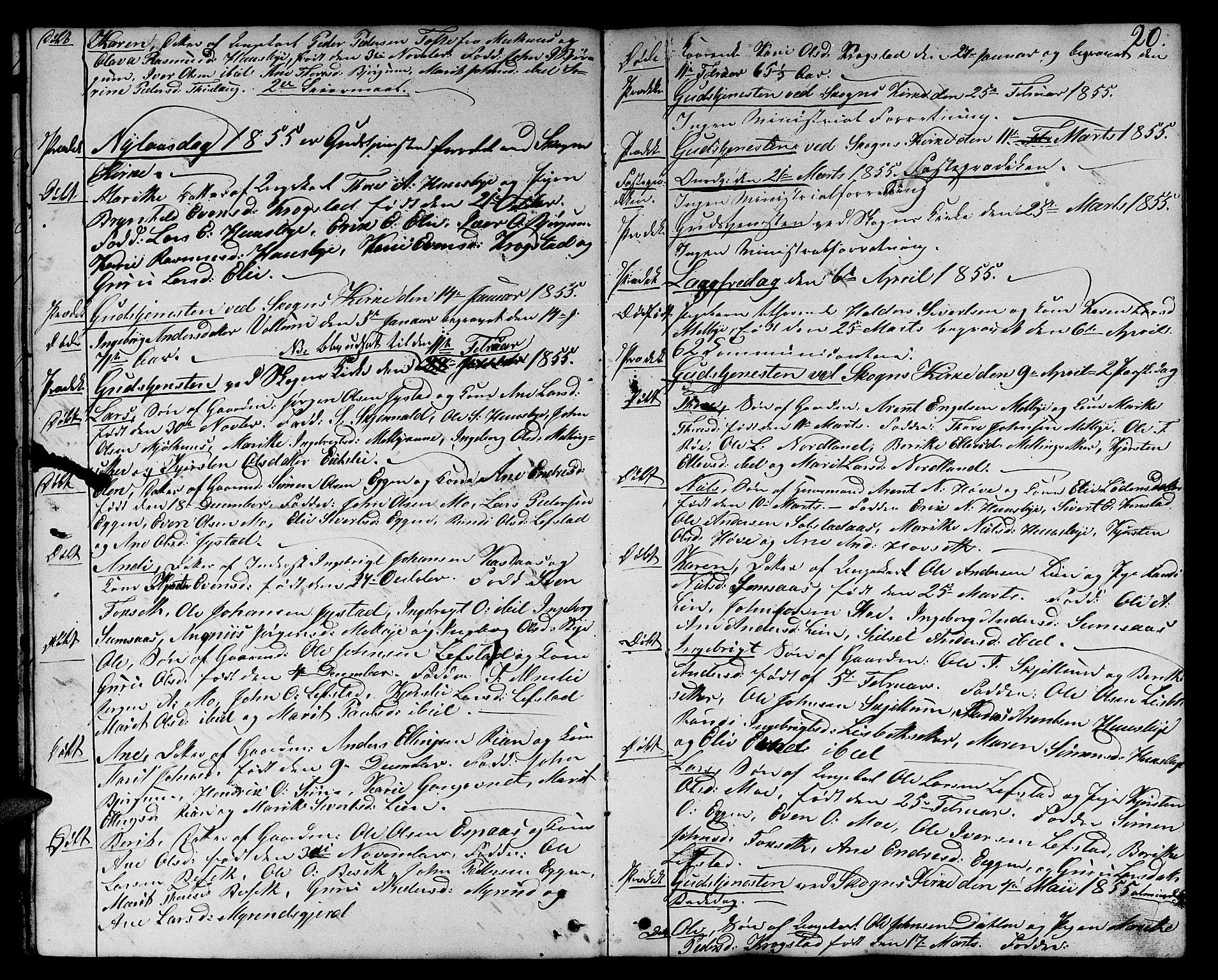 SAT, Ministerialprotokoller, klokkerbøker og fødselsregistre - Sør-Trøndelag, 667/L0797: Klokkerbok nr. 667C02, 1849-1867, s. 20