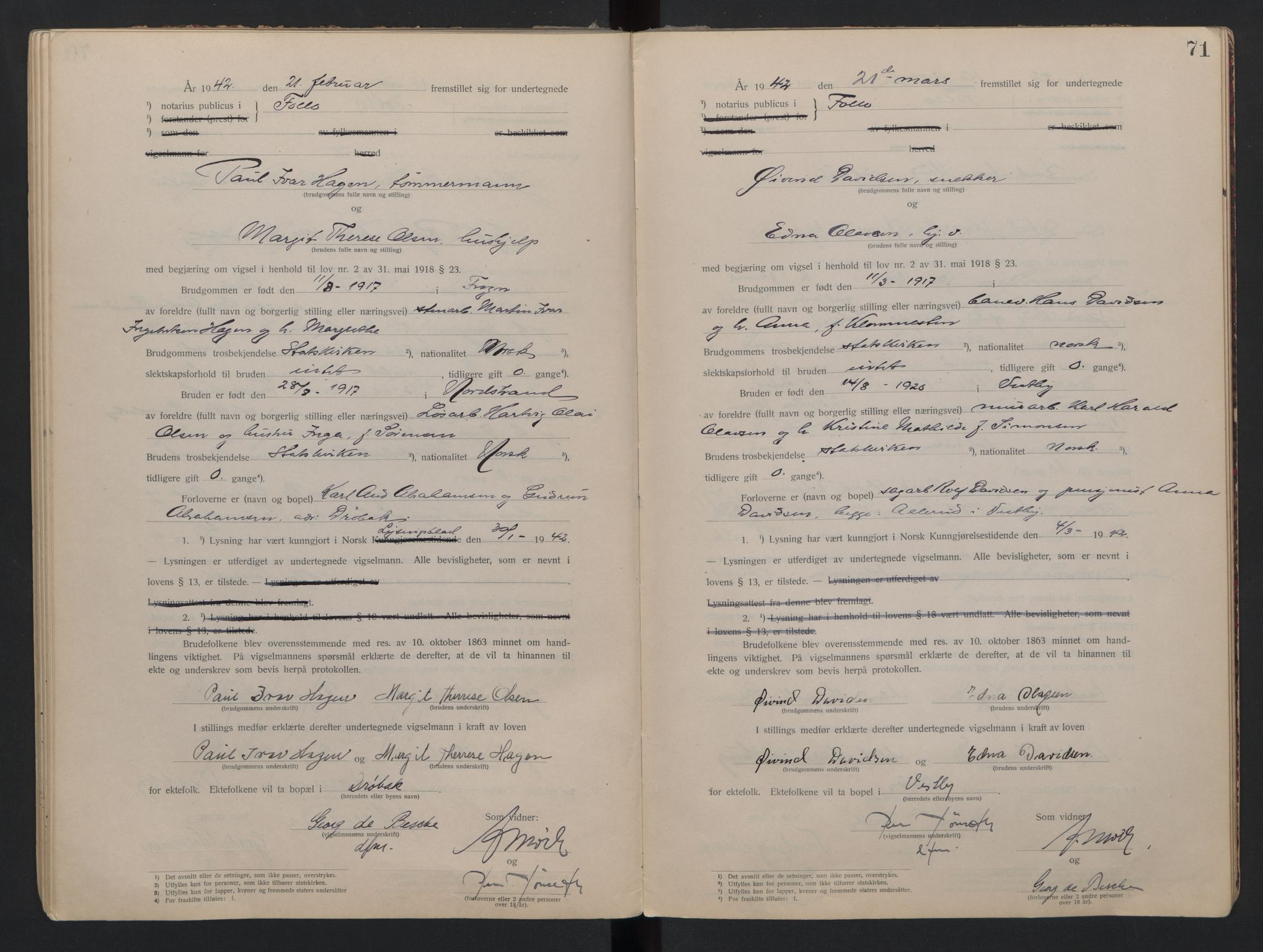 SAO, Follo sorenskriveri, L/La/Lab/L0001: Vigselsbok, 1920-1942, s. 71