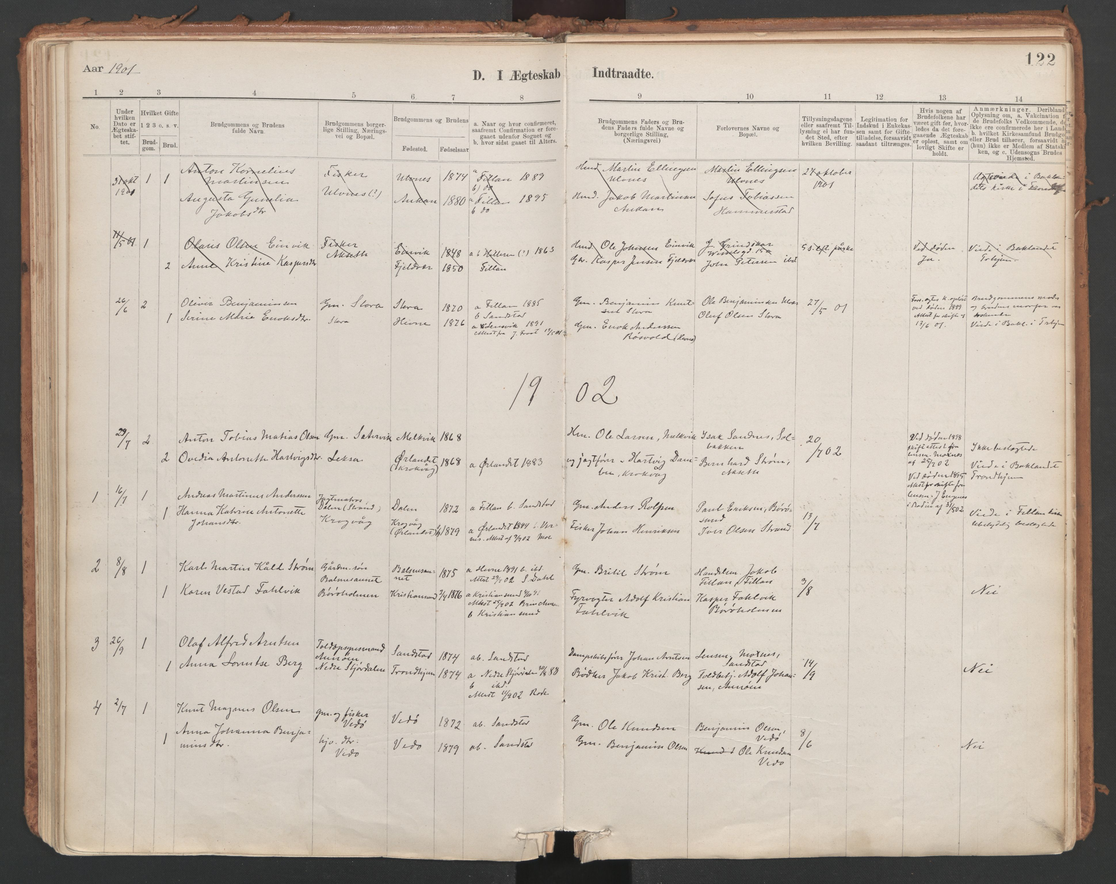 SAT, Ministerialprotokoller, klokkerbøker og fødselsregistre - Sør-Trøndelag, 639/L0572: Ministerialbok nr. 639A01, 1890-1920, s. 122