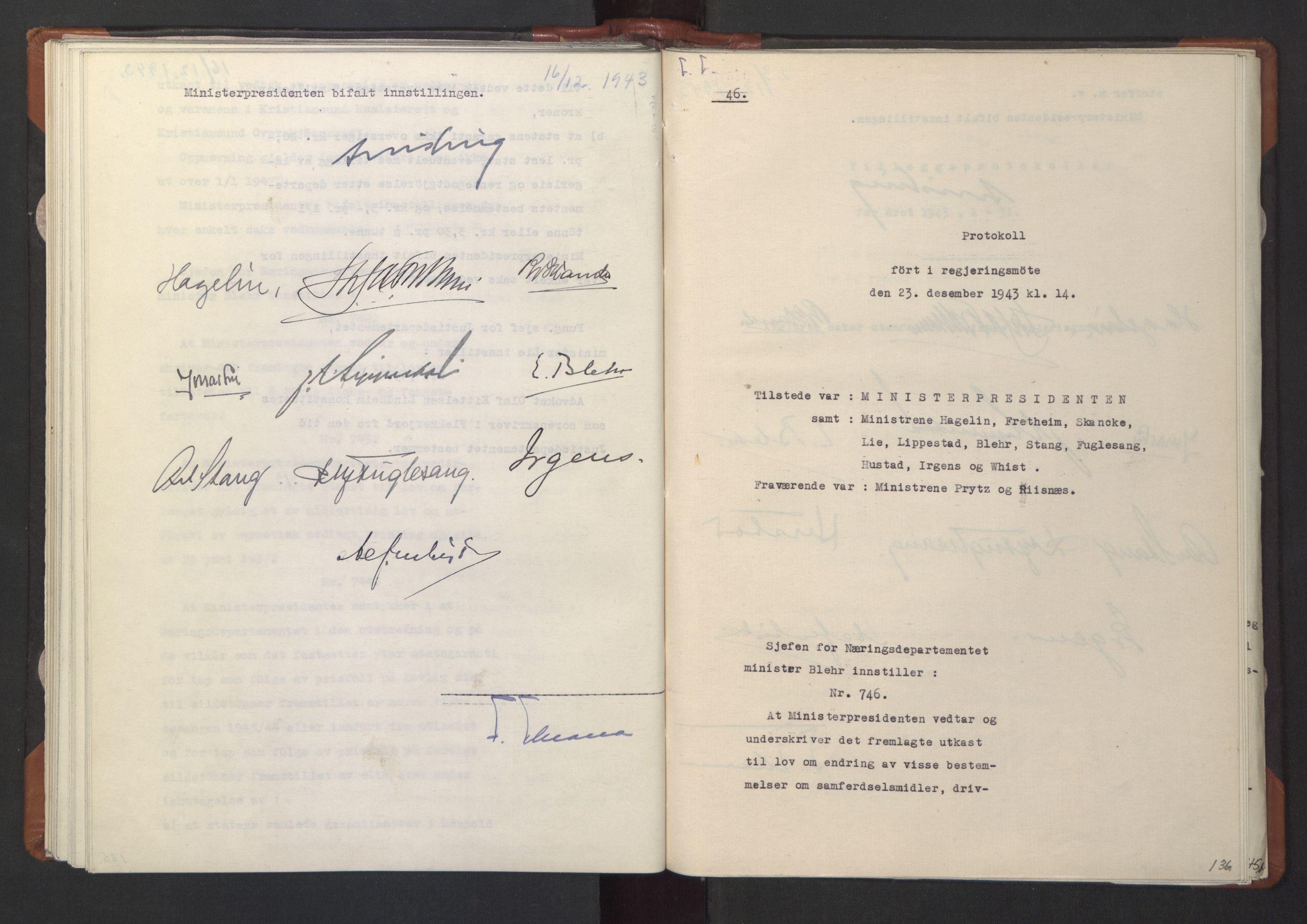 RA, NS-administrasjonen 1940-1945 (Statsrådsekretariatet, de kommisariske statsråder mm), D/Da/L0003: Vedtak (Beslutninger) nr. 1-746 og tillegg nr. 1-47 (RA. j.nr. 1394/1944, tilgangsnr. 8/1944, 1943, s. 135b-136a